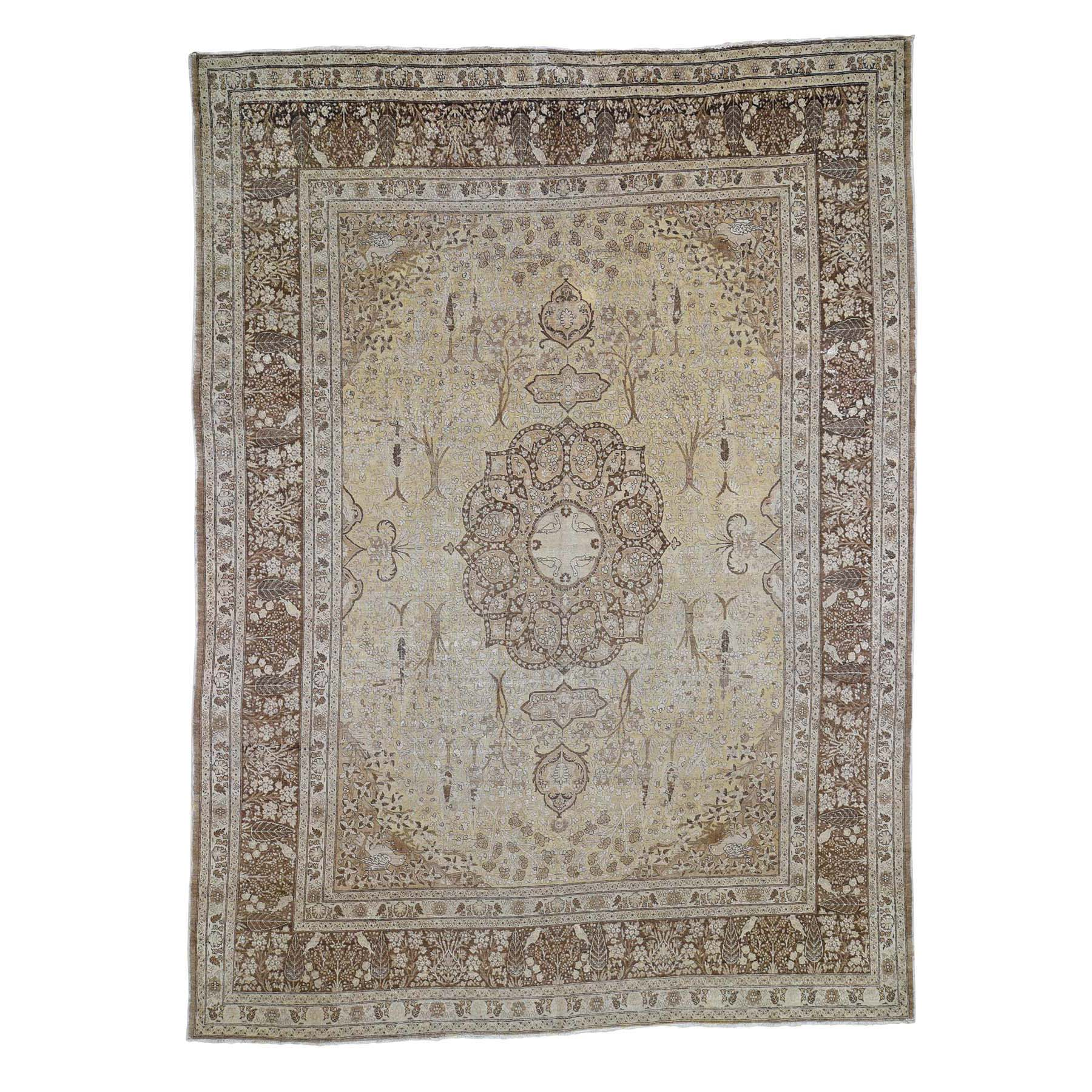 "9'2""x12'5"" Sand Antique Persian Tabriz Birds and Trees Design Pure Wool Even Wear Hand-Knotted Oriental Rug"
