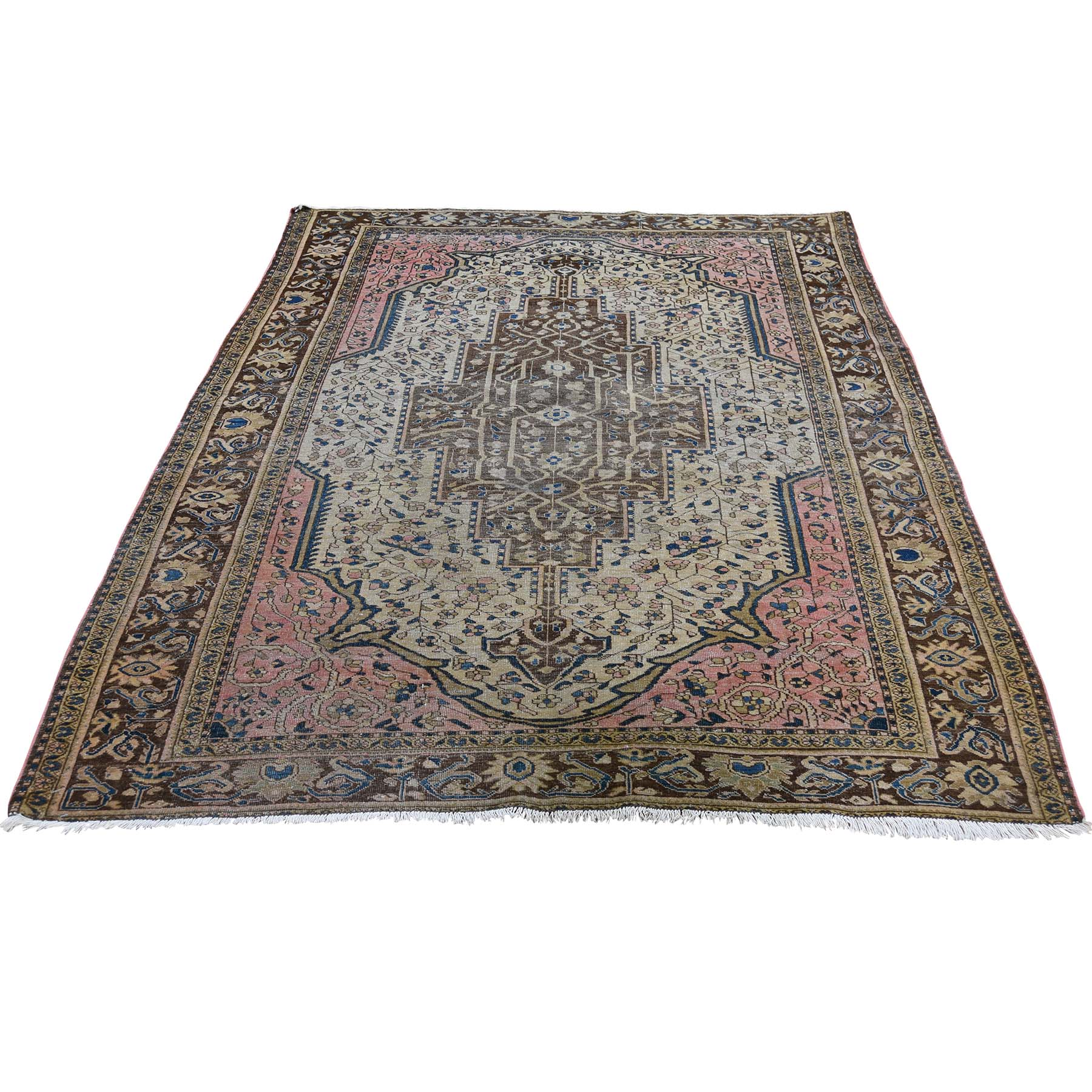 "4'5""X6'6"" Tan Antique Persian Sarouk Fereghan Even Wear Hand-Knotted Oriental Rug moade9a8"