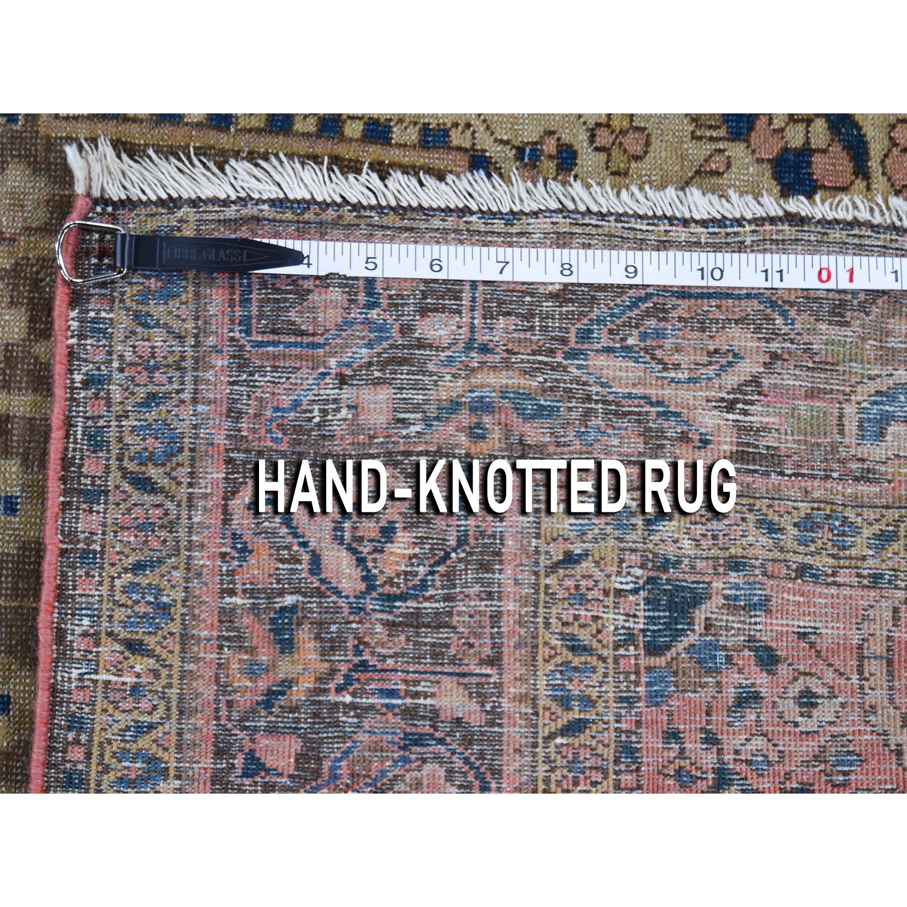 4-5 x6-6  Tan Antique Persian Sarouk Fereghan Even Wear Hand-Knotted Oriental Rug
