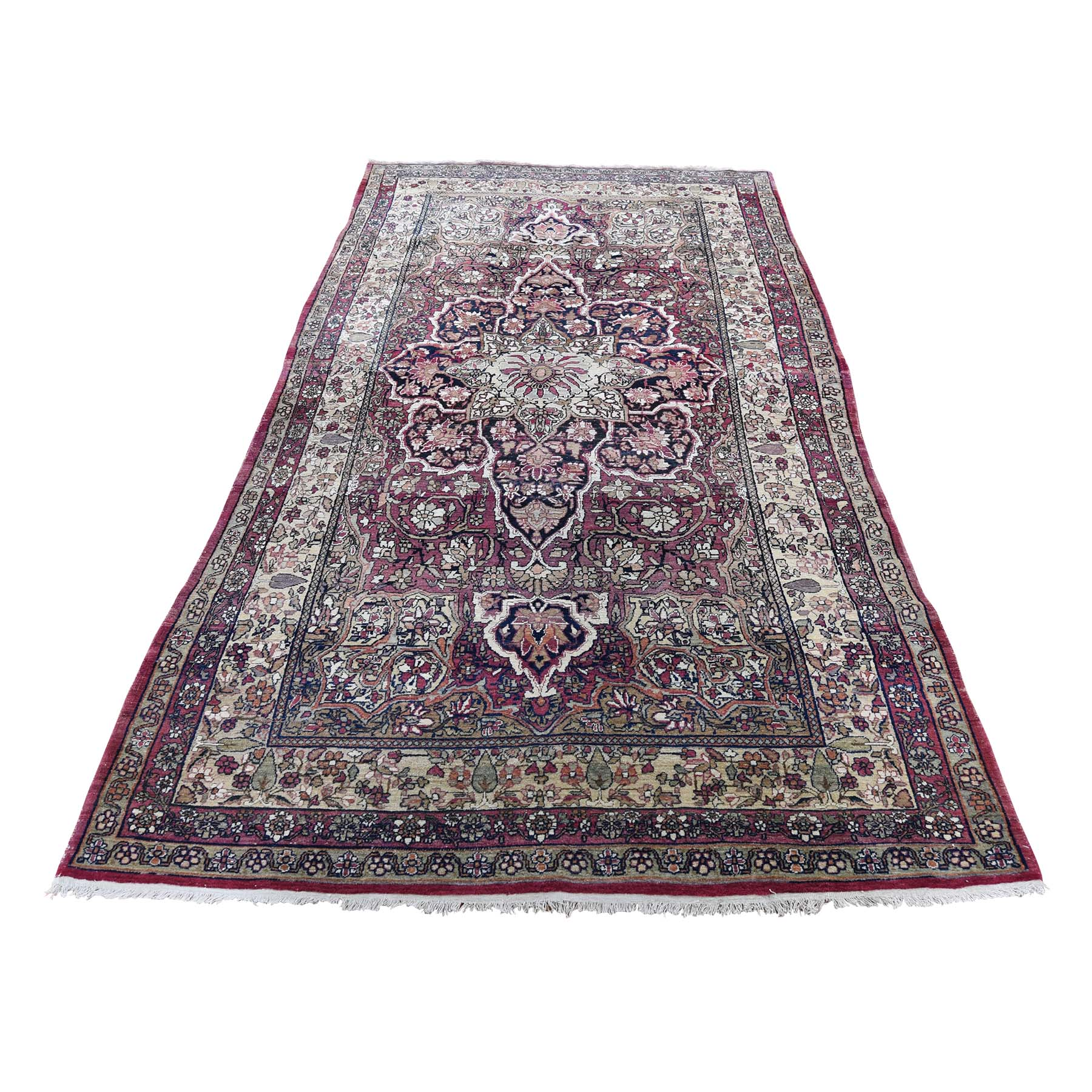 "3'10""X7'10"" Red Antique Persian Kerman Shah Good Condition Even Wear Soft Hand-Knotted Oriental Rug moade9a9"