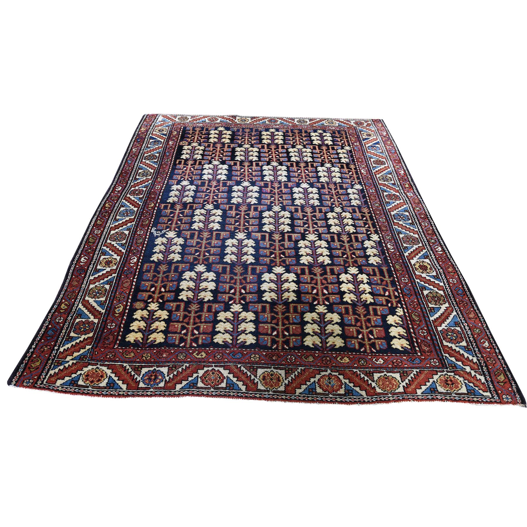 4-4 X5-9  Navy Antique Persian Heriz With Tree Design Pure Wool Hand-Knotted Oriental Rug