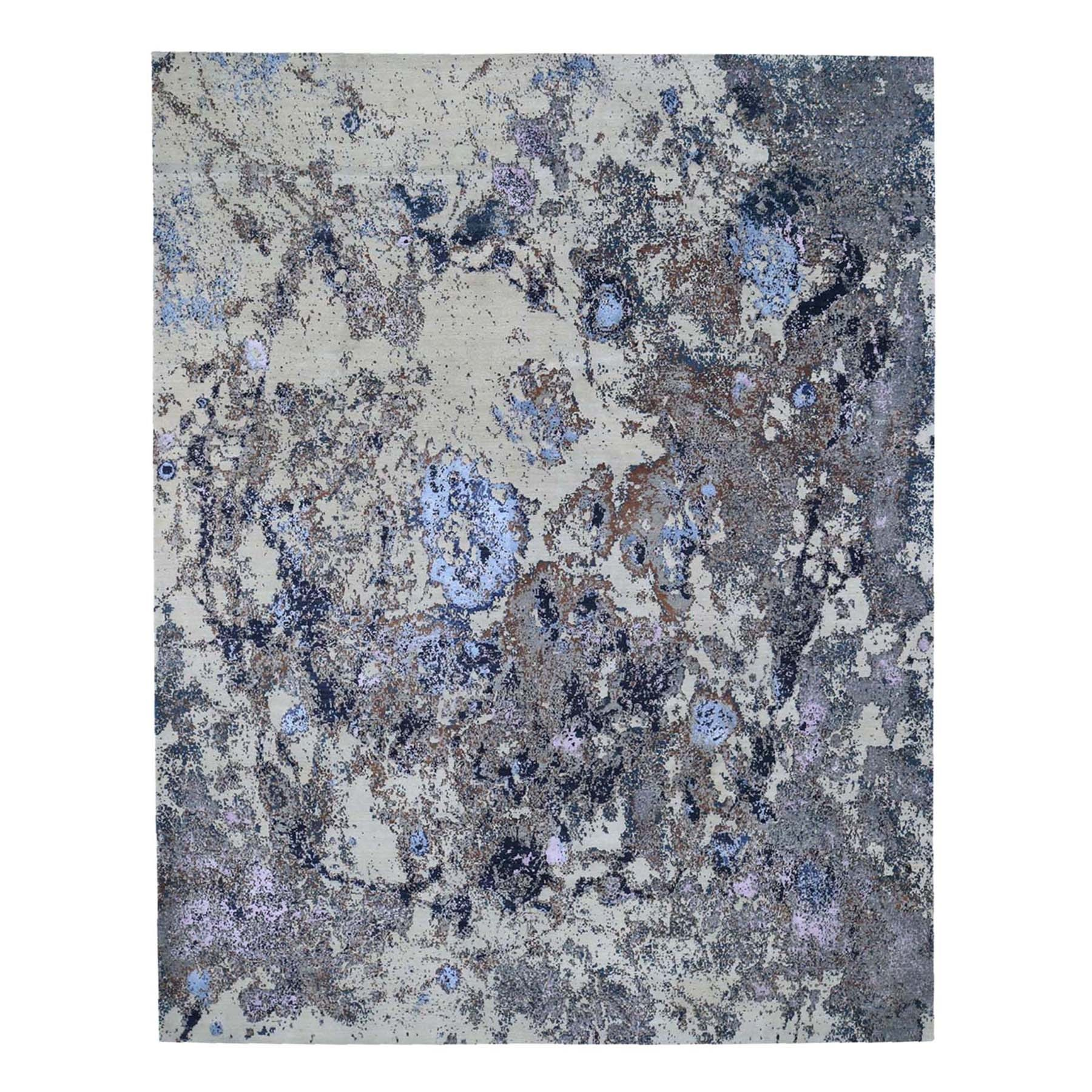 8'x10' Abstract Design Wool and Silk Hand-Knotted Oriental Rug