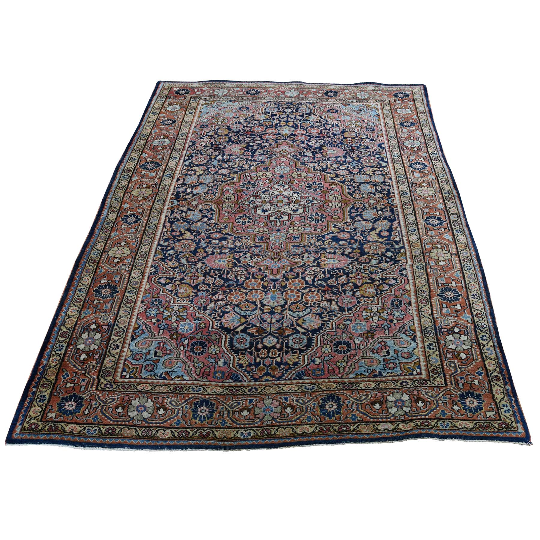 "4'4""X6'8"" Antique Persian Josan Sarouk Full Pile Good Condition Pure Wool Hand-Knotted Oriental Rug moade97c"