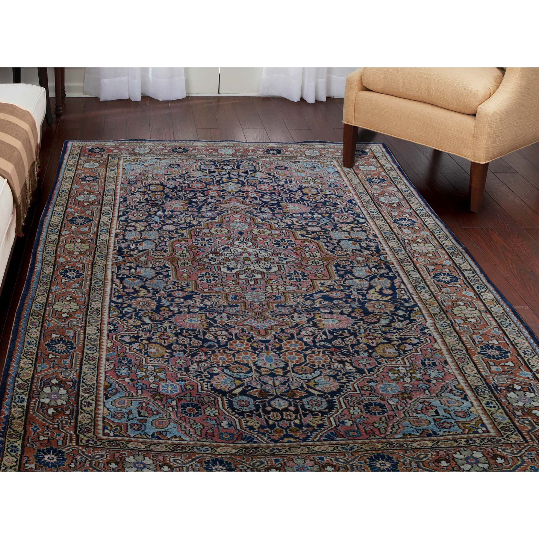 4-4 x6-8  Antique Persian Josan Sarouk Full Pile Good Condition Pure Wool Hand-knotted Oriental Rug