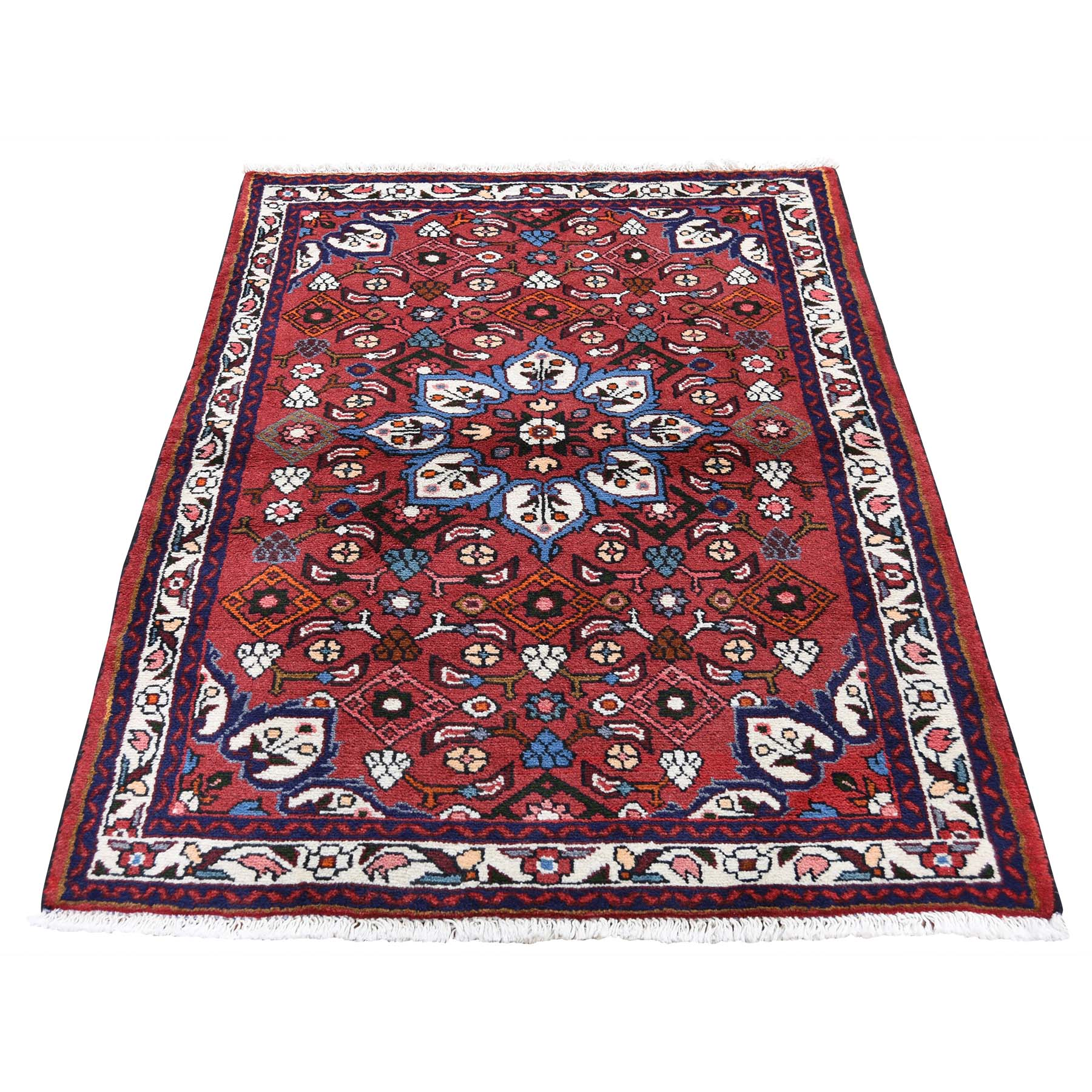 """3'4""""X4'10"""" Red New Persian Hamadan Pure Wool Hand-Knotted Oriental Rug moad600b"""