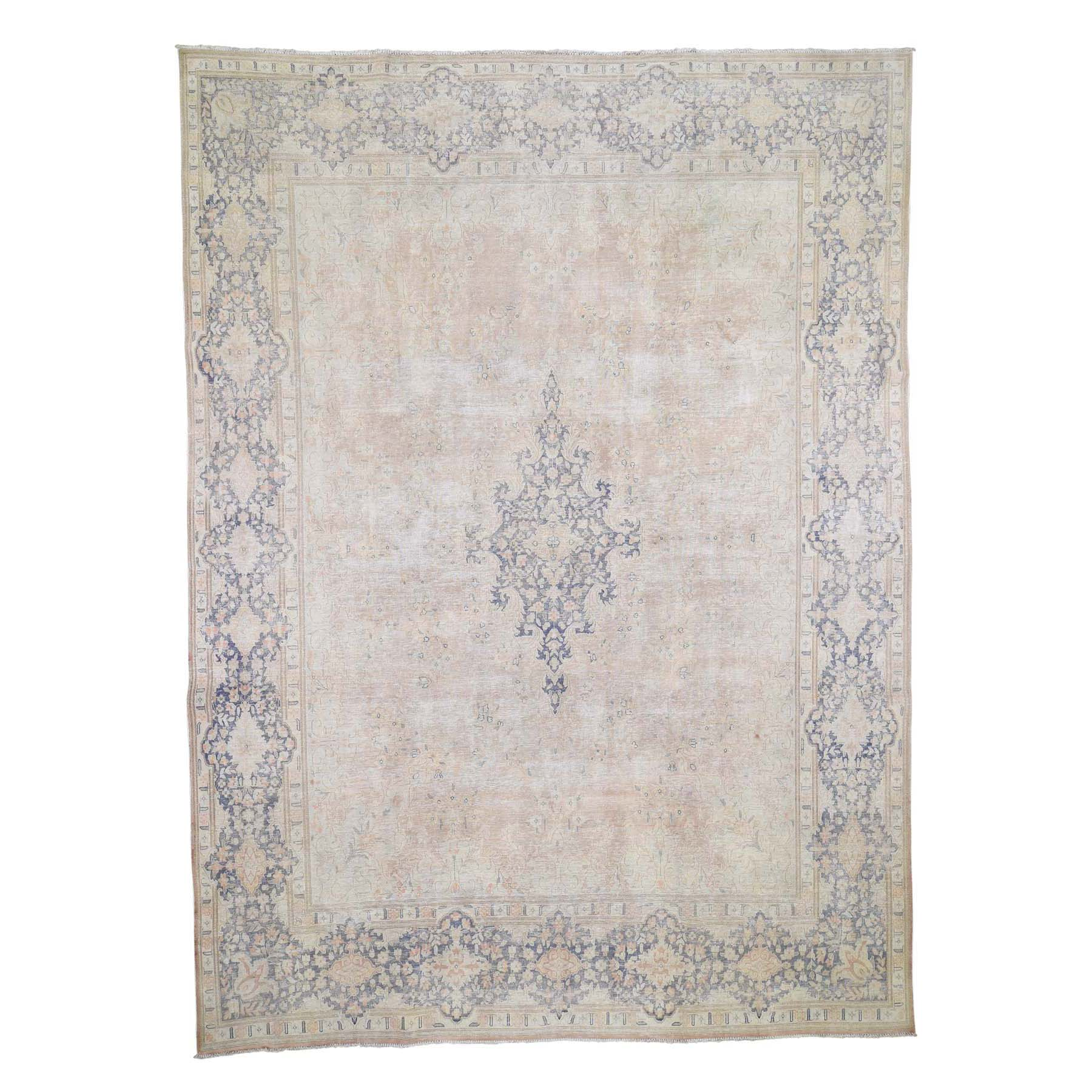 "9'8""X13'2"" White Wash Kerman Sheared Low Hand-Knotted Pure Wool Oriental Rug moad600e"