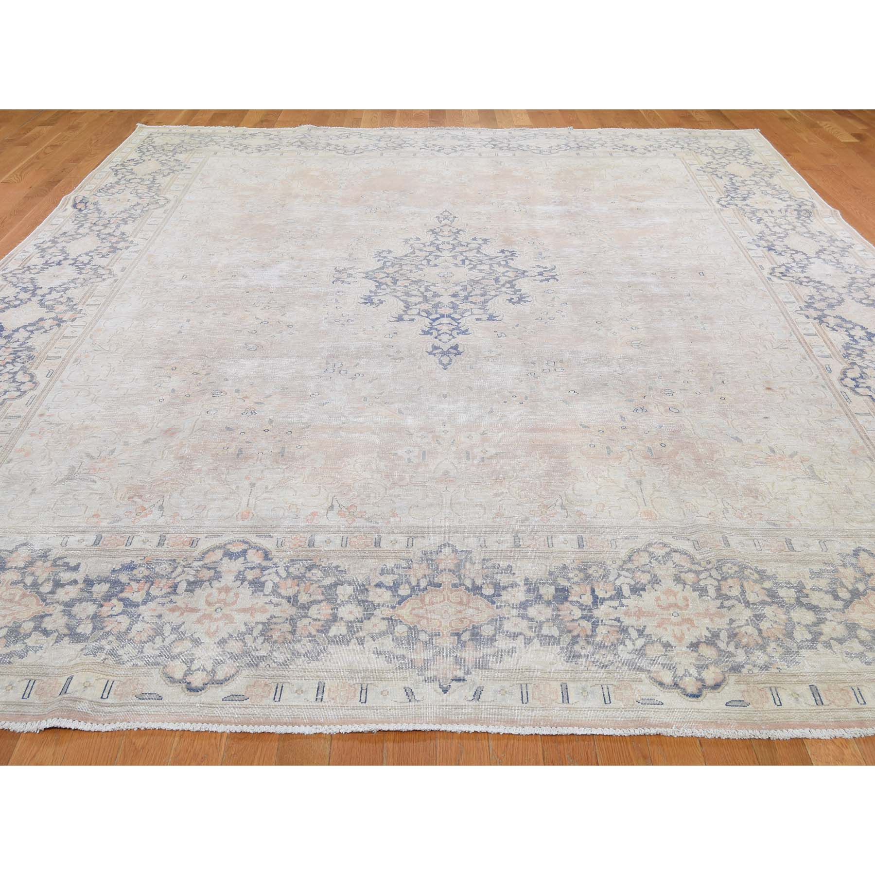 """9'8""""x13'2"""" White Wash Kerman Sheared Low Hand-Knotted Pure Wool Oriental Rug"""