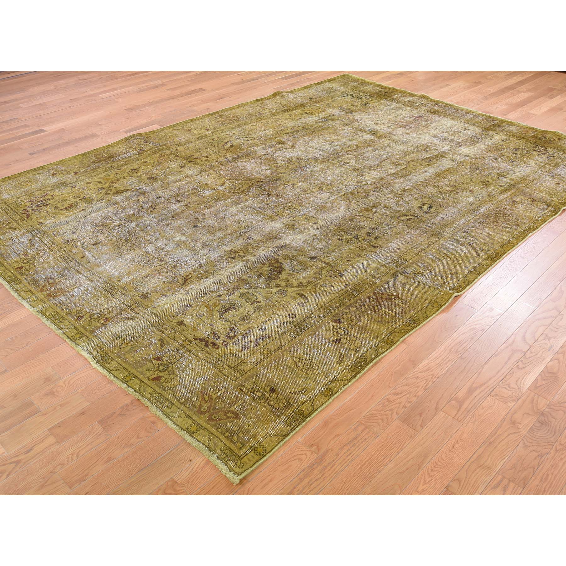 8'x11' Gold Overdyed Persian Tabriz Sheared Low Hand Knotted Oriental Rug