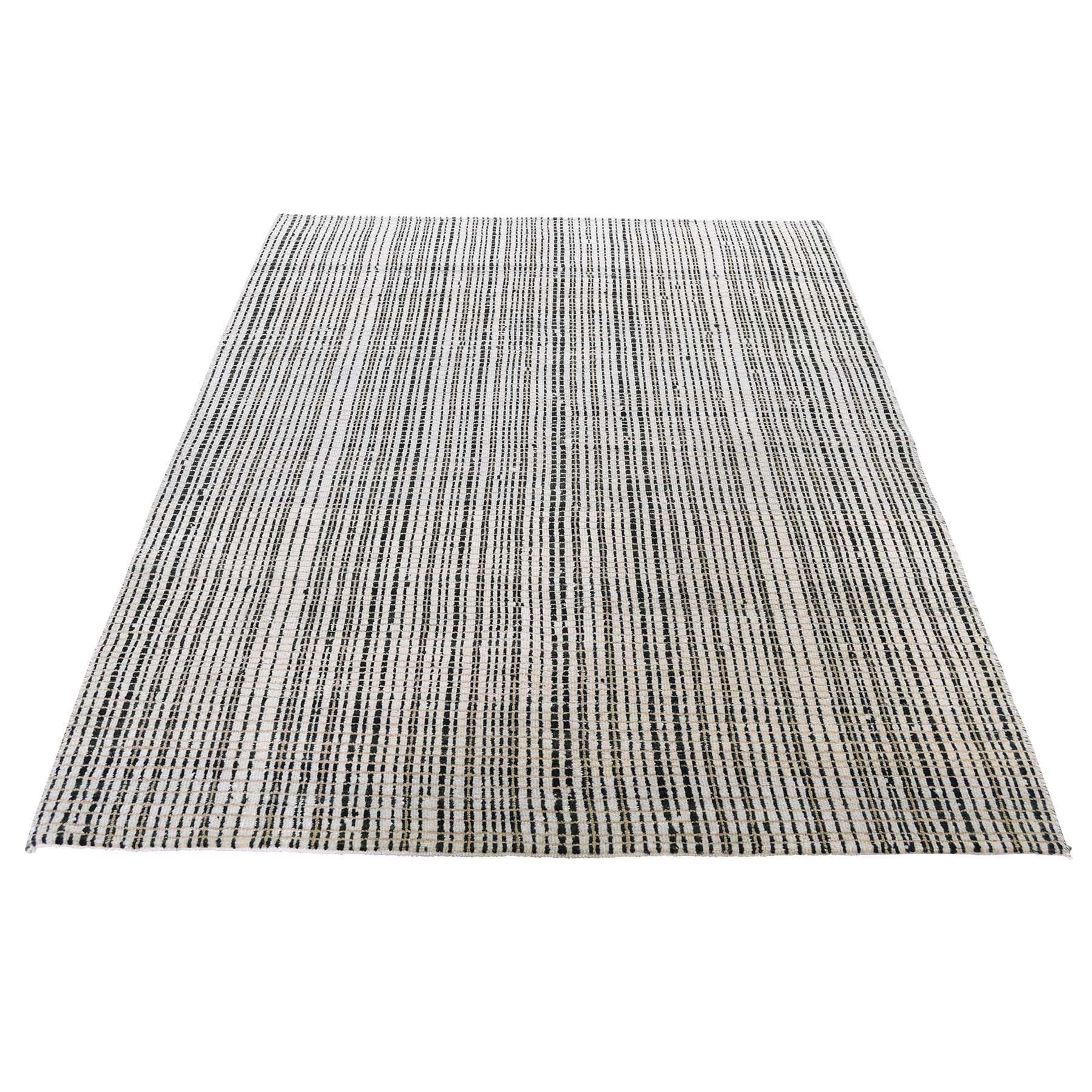 "4'X5'10"" Modern Tone On Tone Striped Pure Wool Hand Knotted Oriental Rug moad60ad"