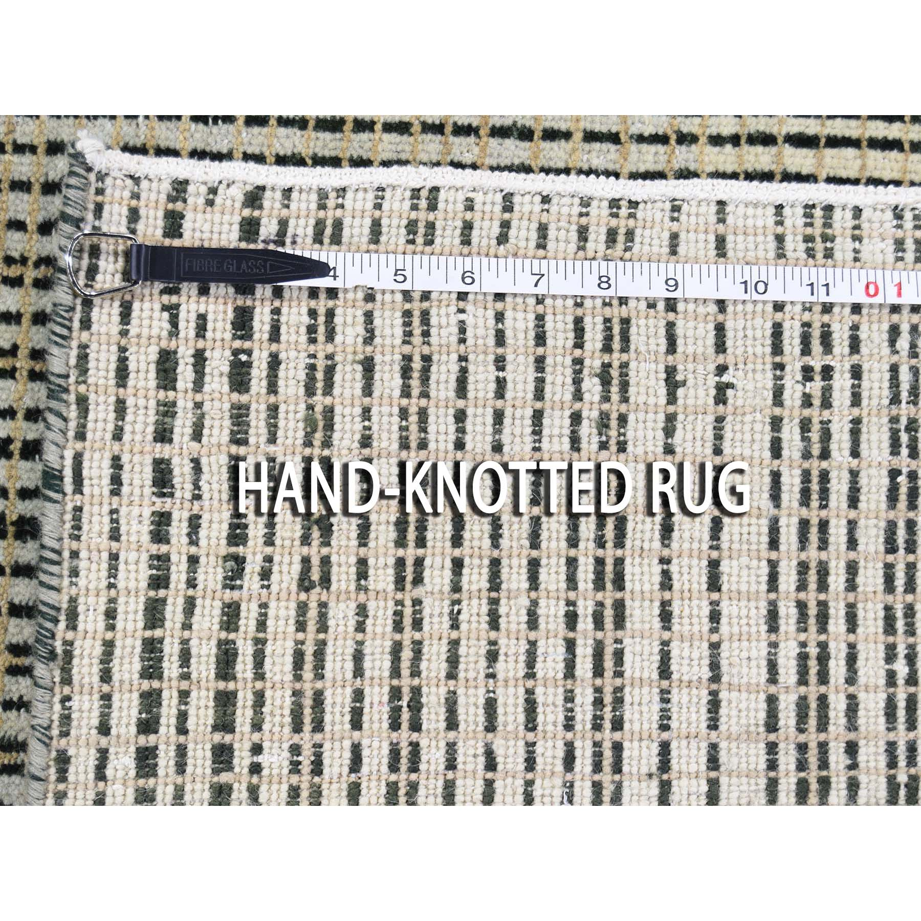 "4'x5'10"" Modern Tone on Tone Striped Pure Wool Hand Knotted Oriental Rug"