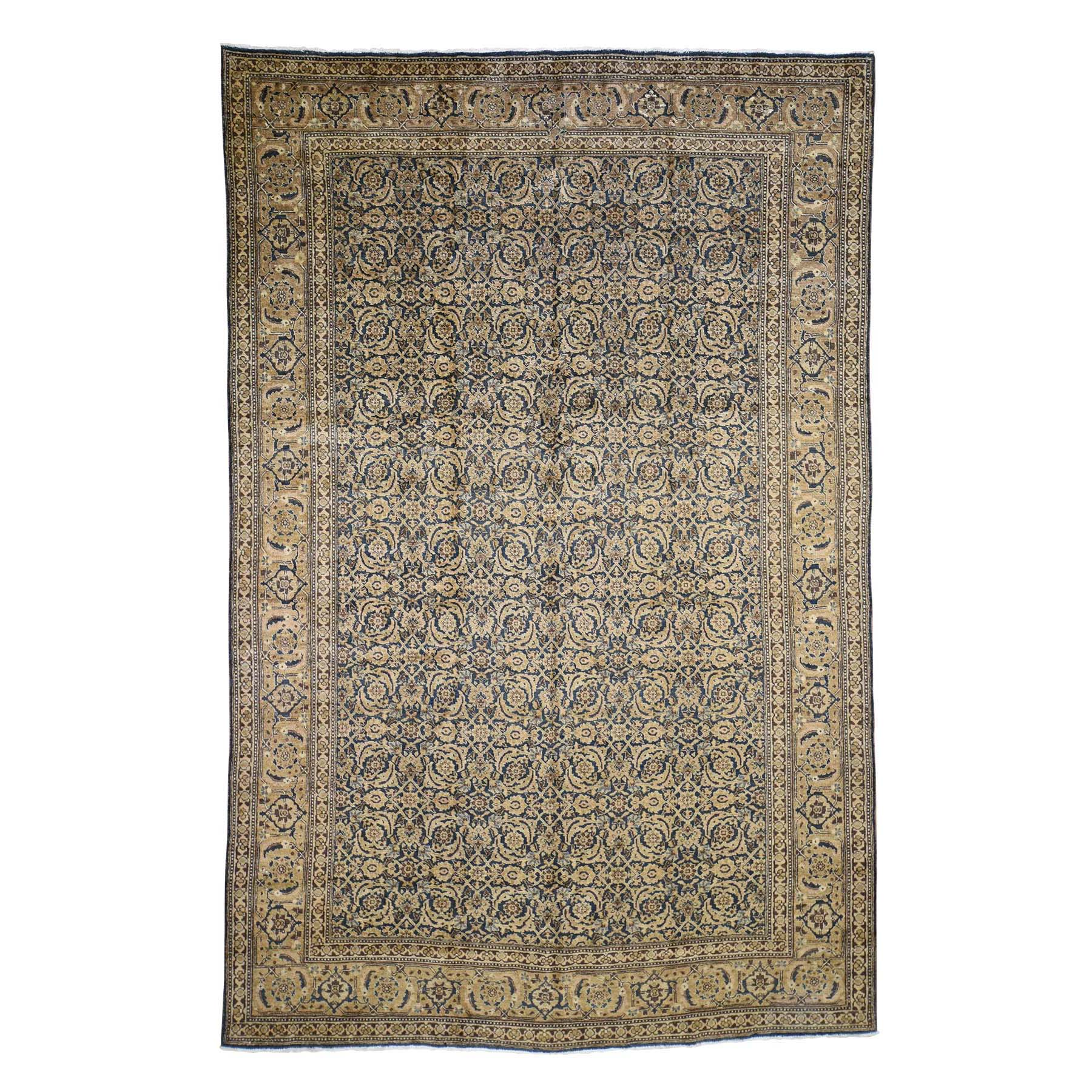 """7'X10'6"""" Antique Persian Tabriz Full Pile Exc Condition Hand Knotted Oriental Rug moad60a6"""
