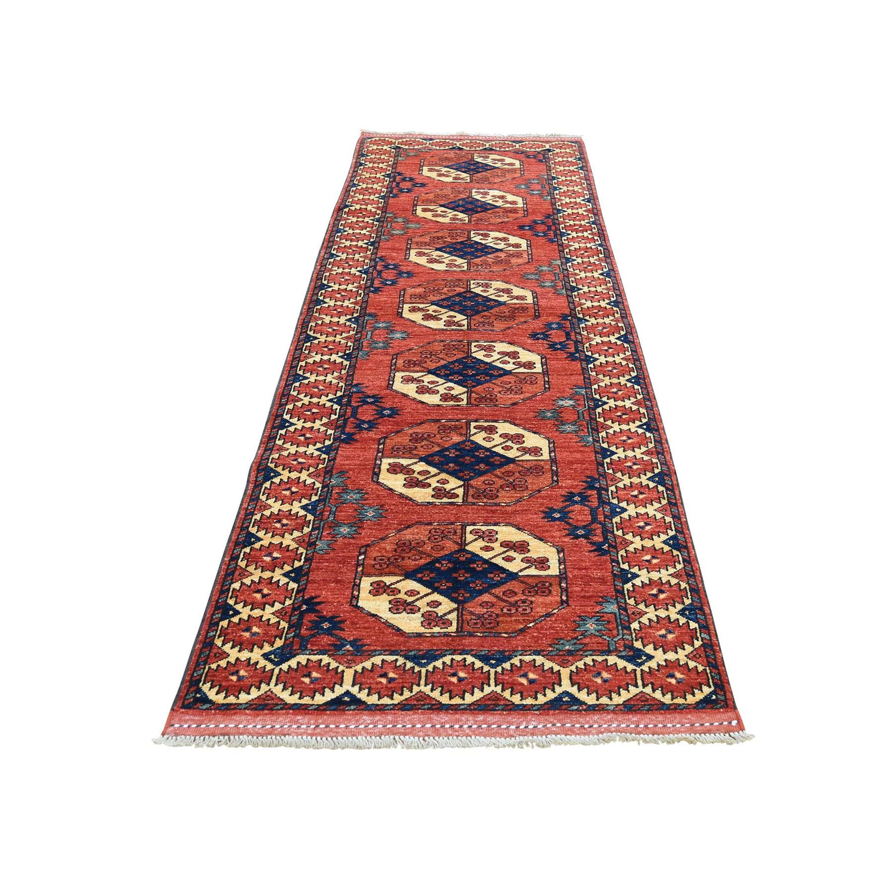 "2'10""X9'9"" Afghan Ersari Elephant Feet Design Hand-Knotted Runner Oriental Rug moad60a8"