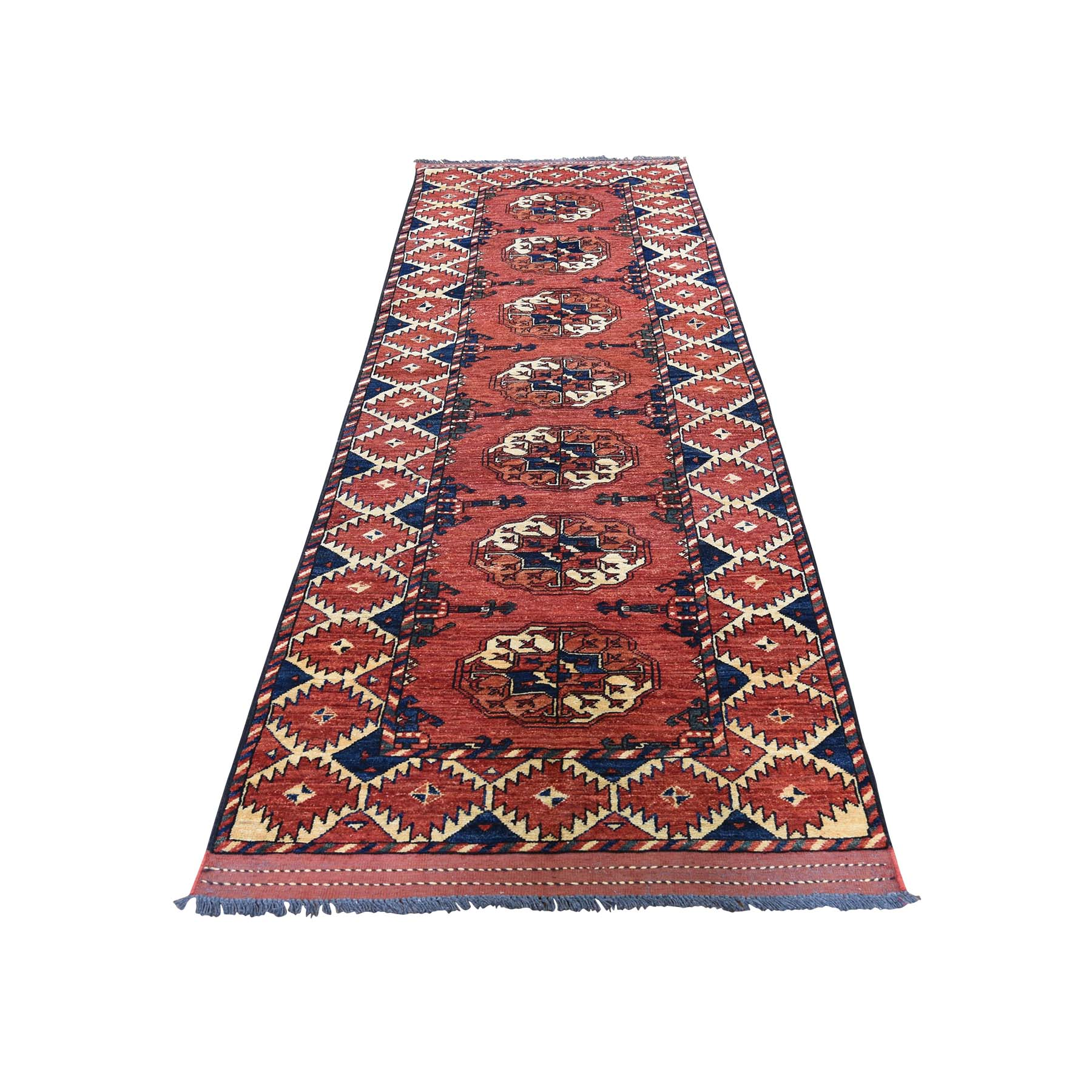 "2'10""X9'4"" Pure Wool Runner Elephant Feet Afghan Ersari Hand Knotted Rug moad60a9"