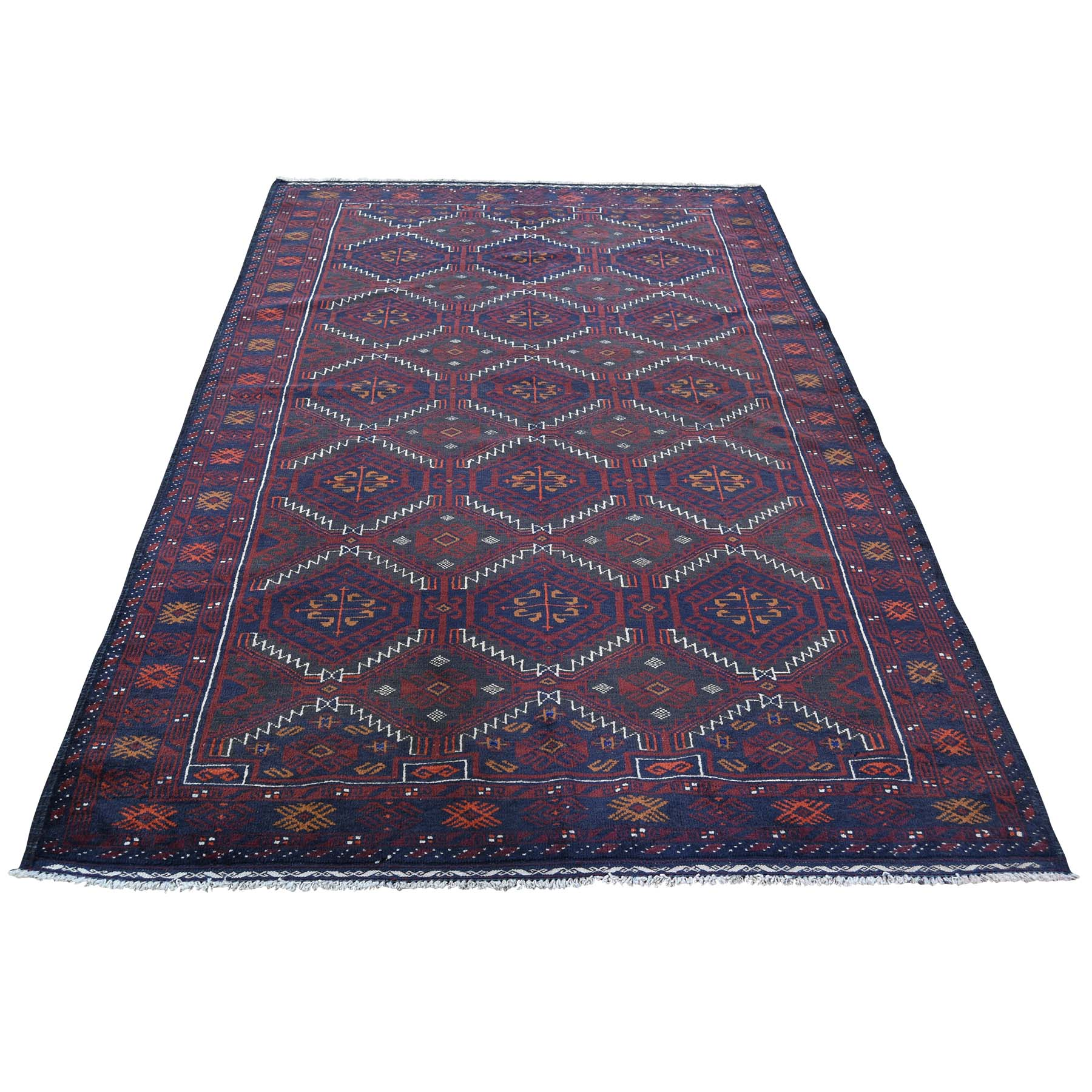 """4'4""""X7'6"""" Geometric Design Afghan Baluch Hand Knotted Oriental Rug moad60b0"""