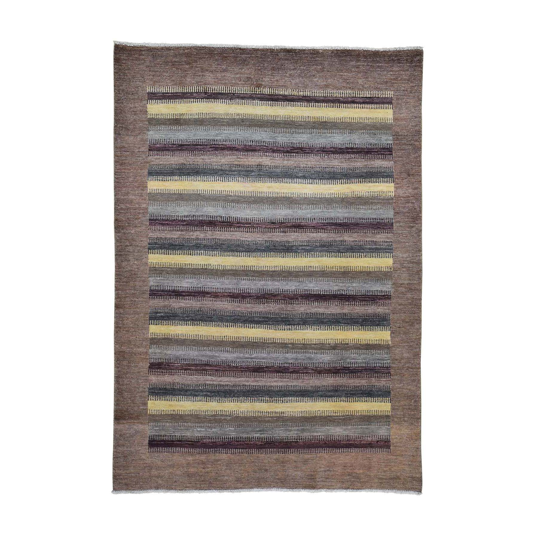 """5'4""""X7'8"""" Striped Gabbeh Modern Hand Knotted Pure Wool Oriental Rug moad60bb"""