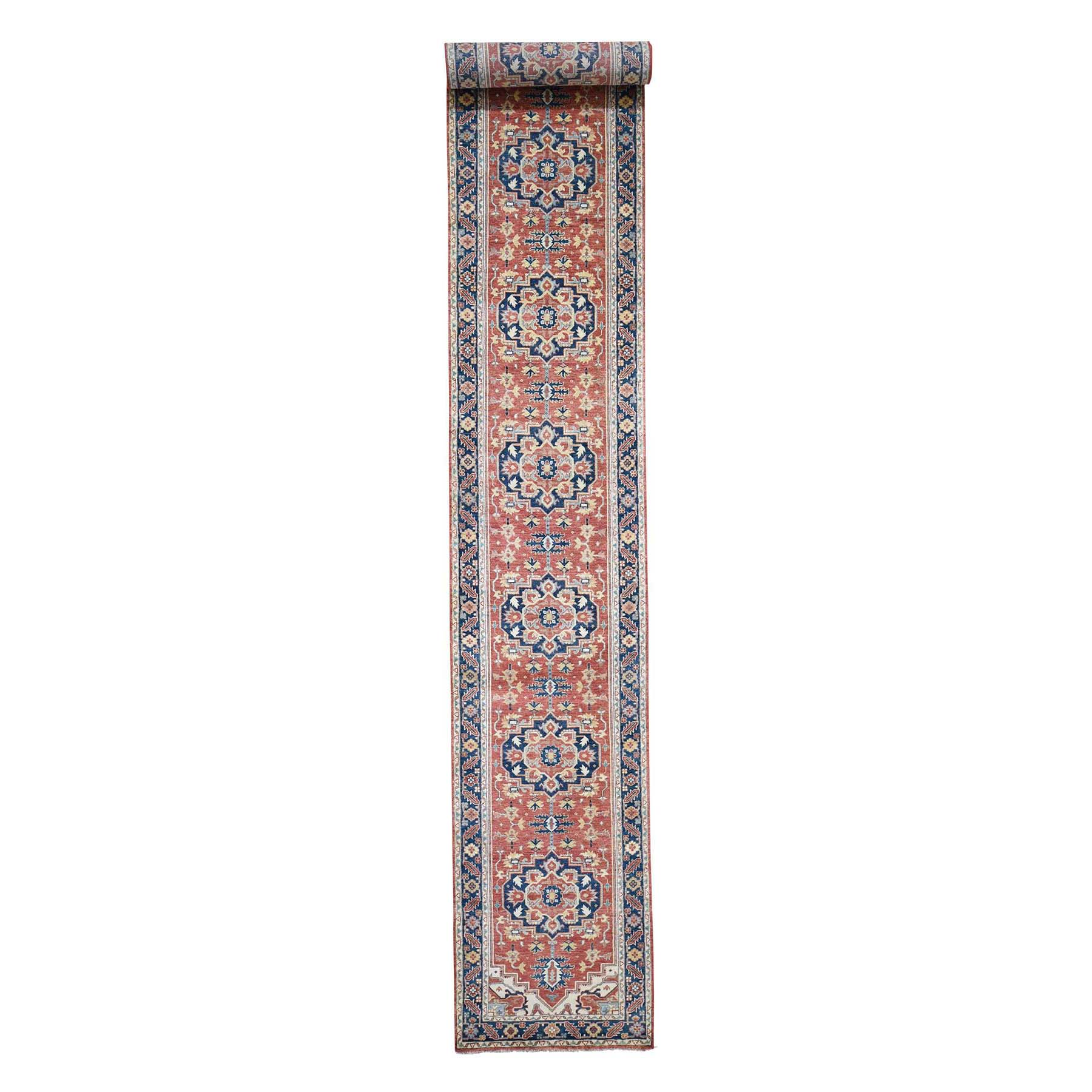 "2'7""X19'8"" Antiqued Heriz Re-Creation Xl Runner Hand Knotted Oriental Rug moad60bd"