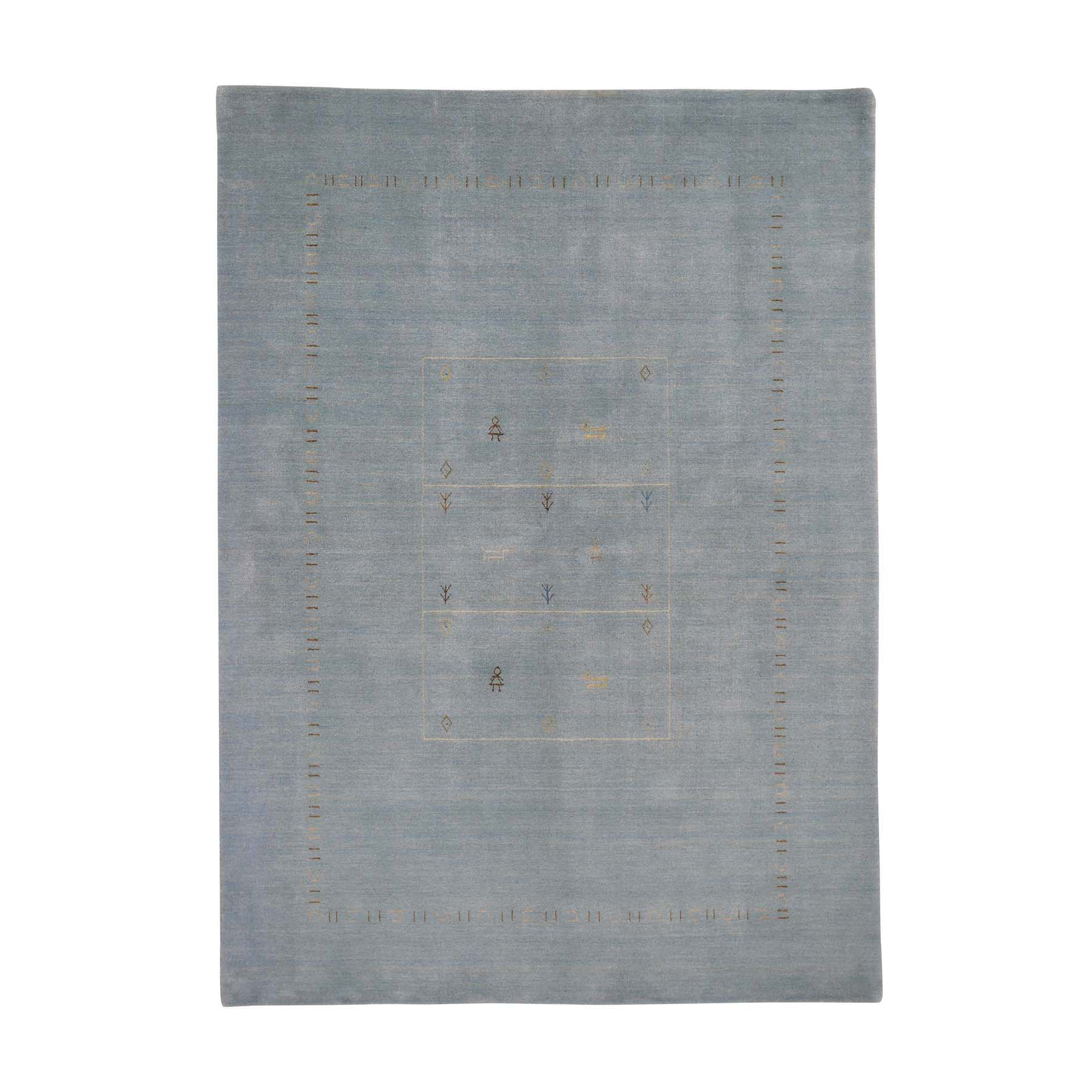 "5'8""X7'10"" Light Blue Modern Hand-Loomed Gabbeh Pure Wool Oriental Rug moad60cc"