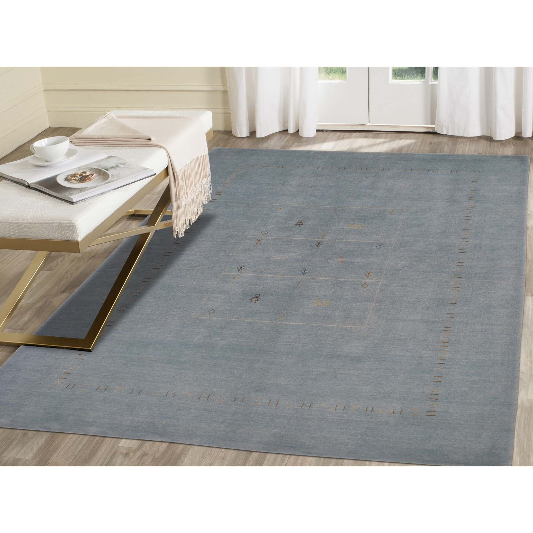 "5'8""x7'10"" Light Blue Modern Hand-Loomed Gabbeh Pure Wool Oriental Rug"