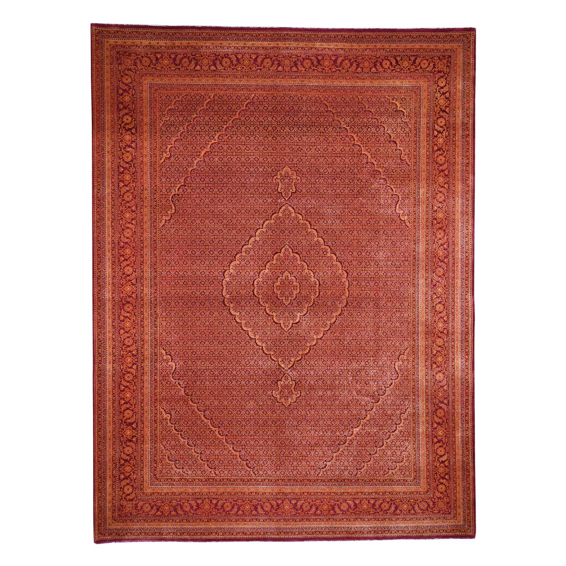 "9'X12'1"" Orange Tabriz Mahi Hand Knotted Wool And Silk Oriental Rug moad60c7"