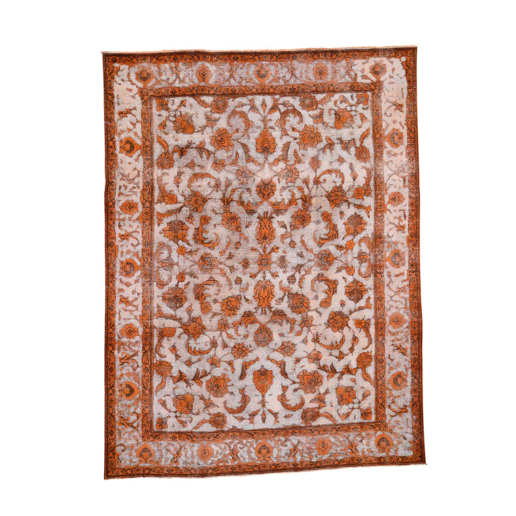 "8'1""x10'9"" Orange Overdyed Persian Tabriz Barjasta Vintage Hand-Knotted Oriental Rug"