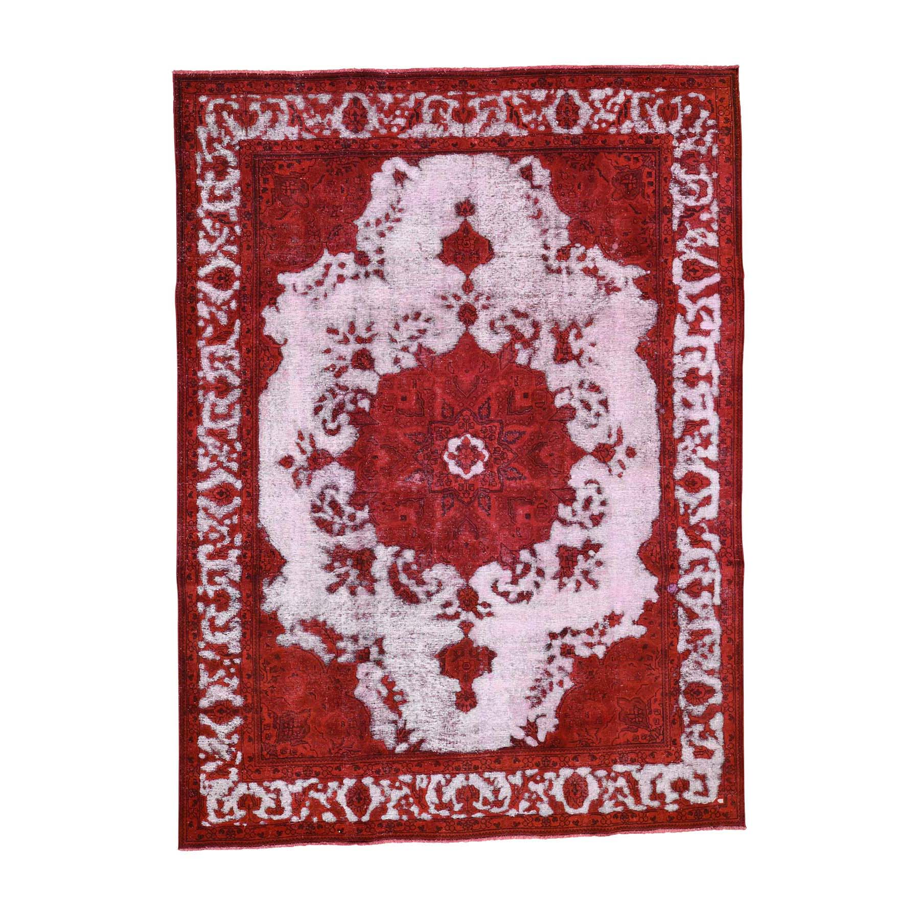 "8'1""X11' Red Overdyed Persian Tabriz Hi-Low Vintage Pure Wool Hand-Knotted Oriental Rug moad60da"