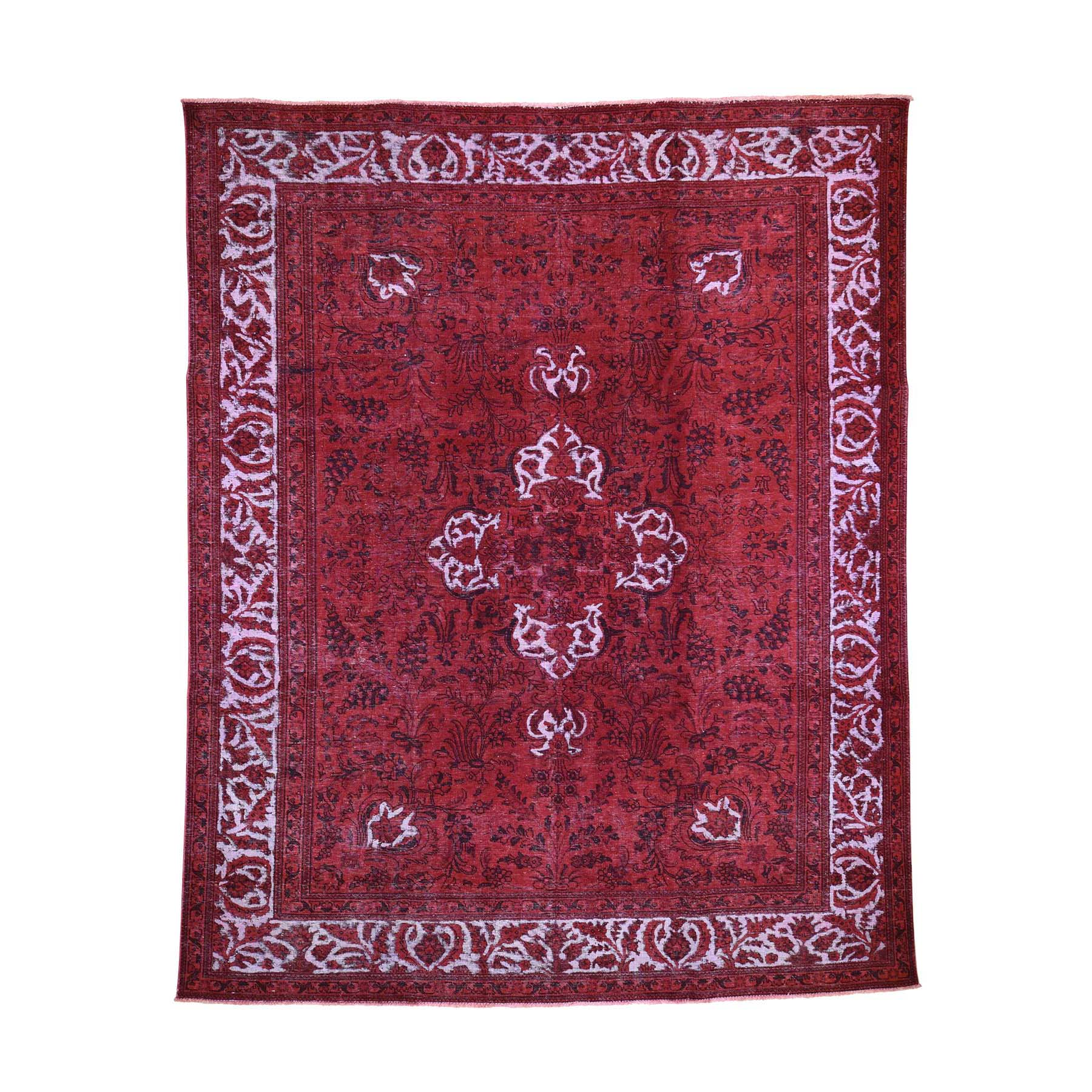 "8'7""X10'8"" Red Overdyed Pure Wool Persian Tabriz Hi-Low Hand-Knotted Oriental Rug moad60d7"