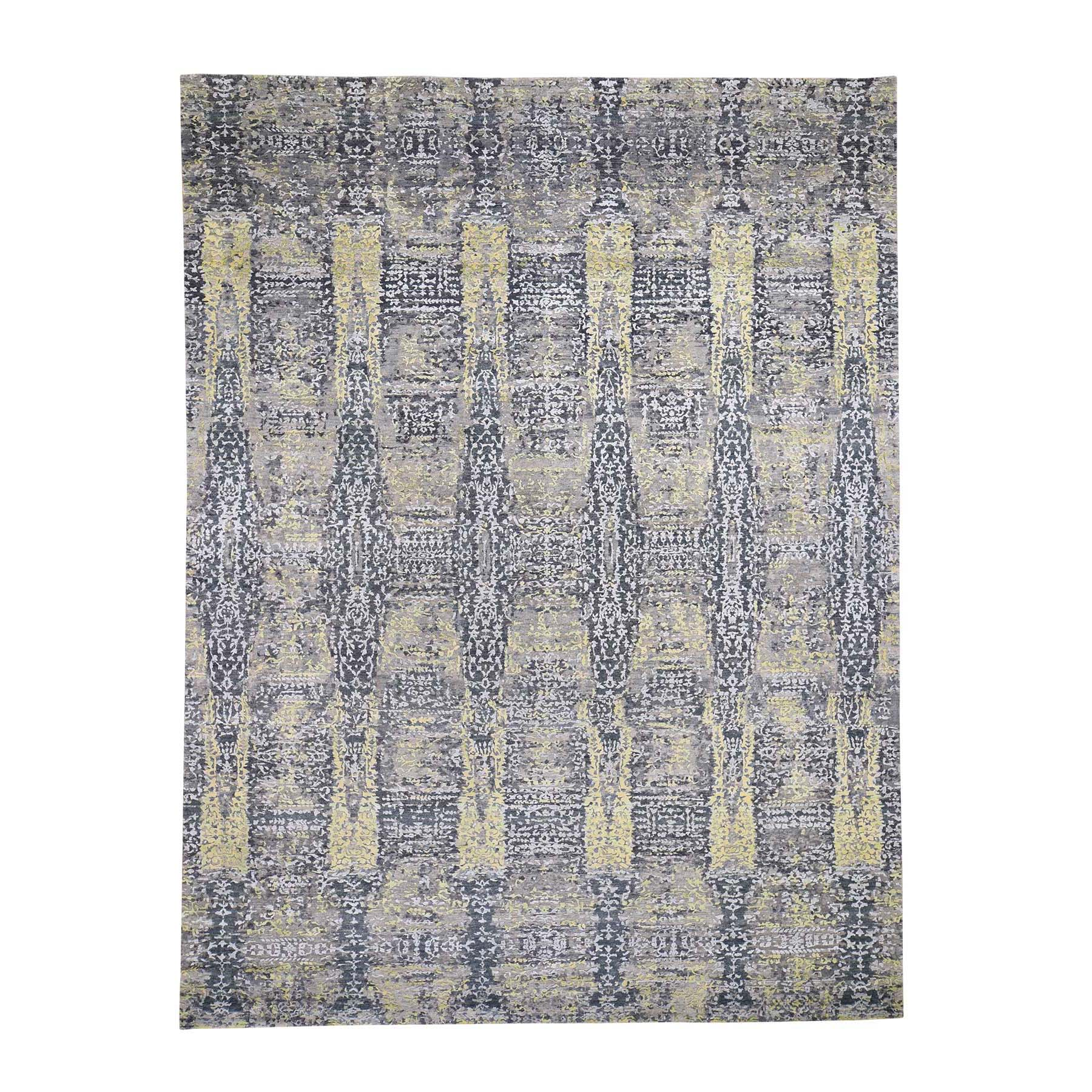 "8'10""x11'9"" Wool And Silk Abstract Design Hand-Knotted Oriental Rug"