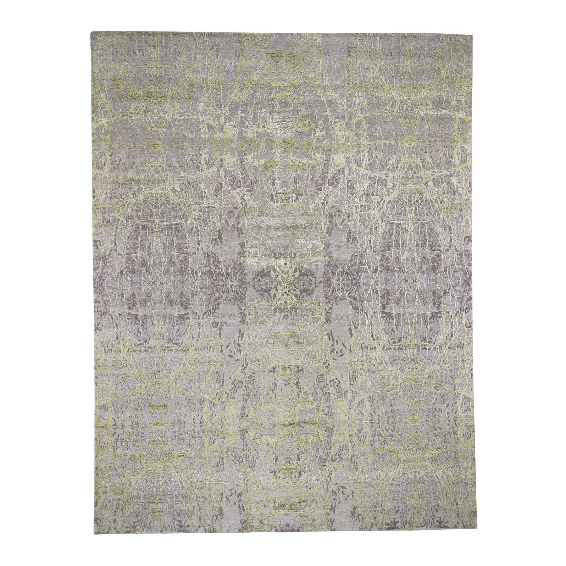 "9'X11'9"" Light Green Tone On Tone Wool And Silk Abstract Design Hand-Knotted Oriental Rug moad60ea"