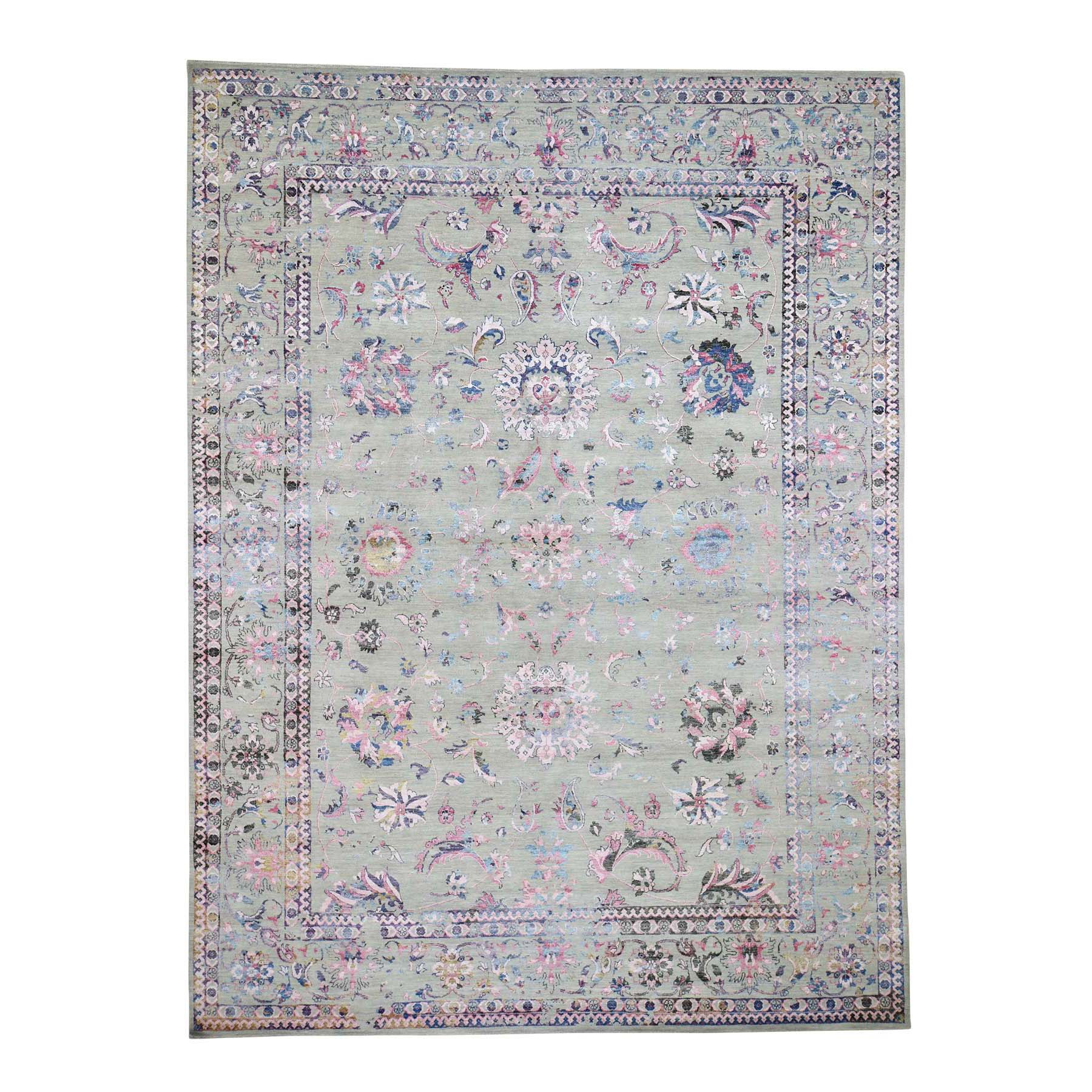 "9'X12'1"" Pink Erased Wool And Silk Tabriz Design Hand-Knotted Oriental Rug moad60e7"