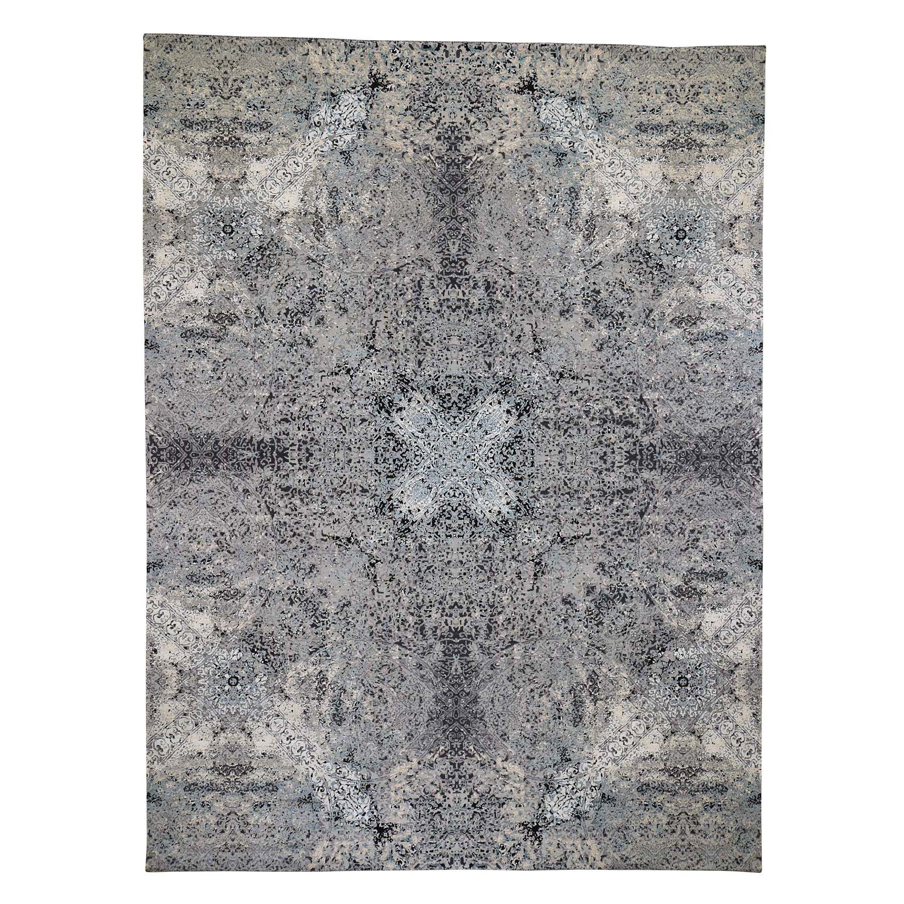 "9'1""X12'2"" Gray Wool And Silk Abstract Design Hand-Knotted Oriental Rug moad606c"