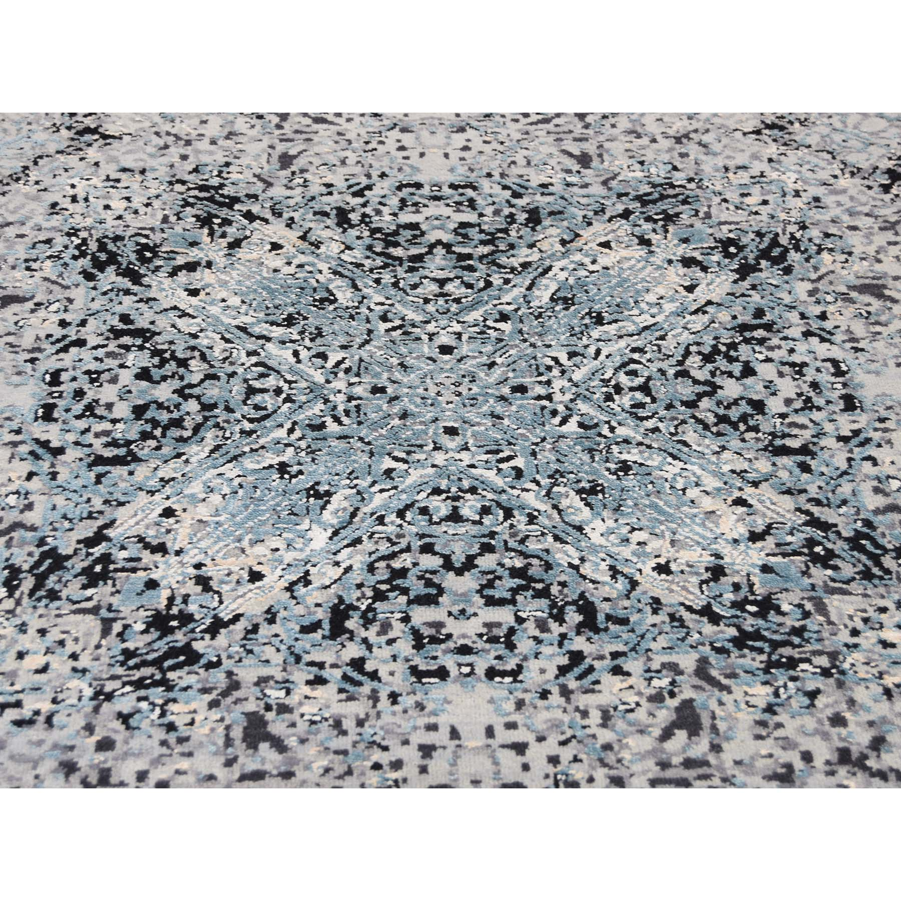 9-1 x12-2  Gray Wool And Silk Abstract Design Hand-Knotted Oriental Rug