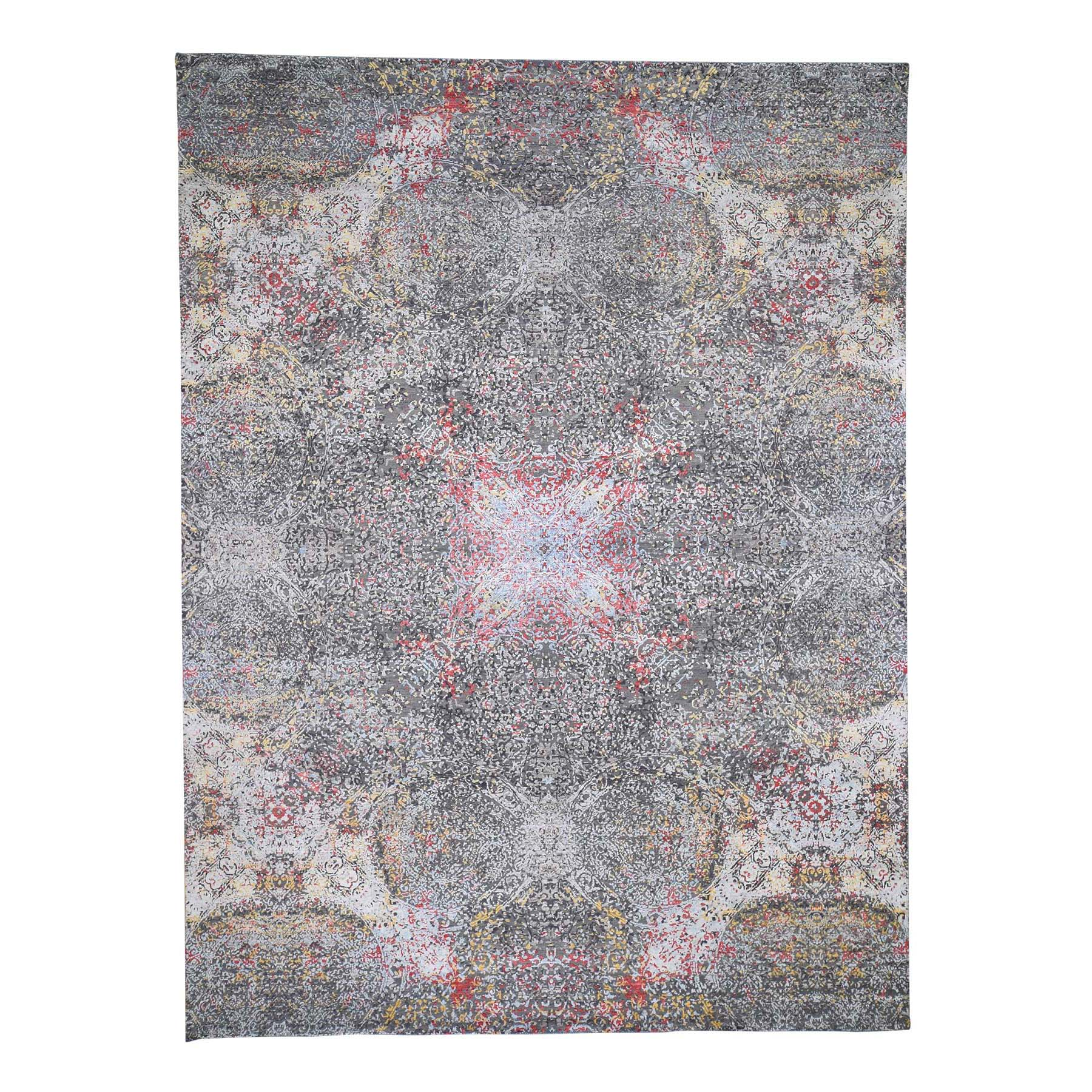 "9'X12'1"" Gray Hi-Low Pile Abstract Design Wool And Silk Hand-Knotted Oriental Rug moad6067"
