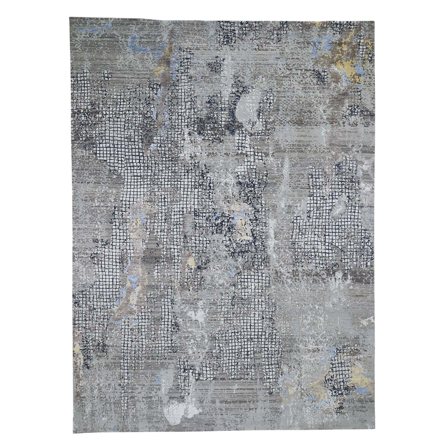 "9'X12'1"" Gray Modern Mosaic Broken Design Wool And Silk Hand-Knotted Oriental Rug moad6080"