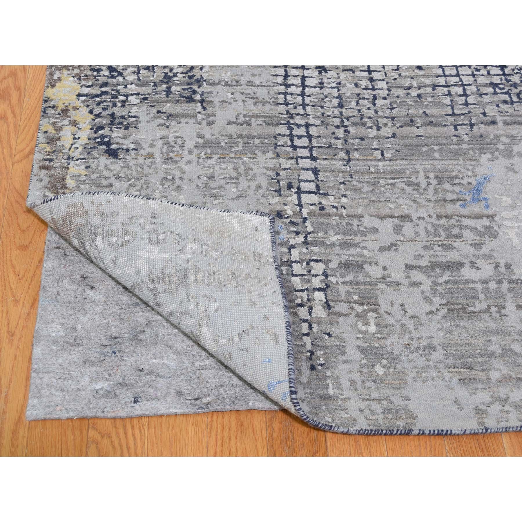 "9'x12'1"" Gray Modern Mosaic Broken Design Wool and Silk Hand-Knotted Oriental Rug"