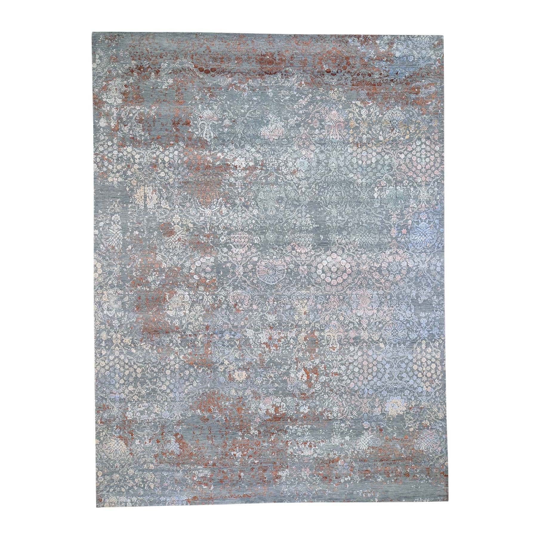 """9'x12'1"""" Blue Flower Bouquet Design Wool And Silk Hand-Knotted Oriental Rug"""