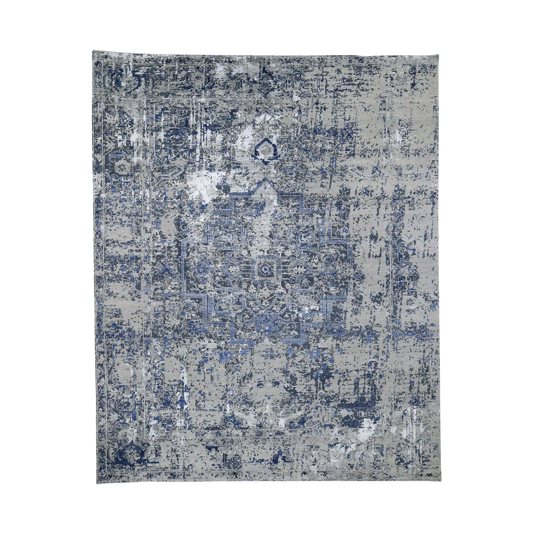 "8'2""X10'1"" Gray Broken Heriz Design Pure Wool And Silk Hand-Knotted Fine Oriental Rug moad6086"