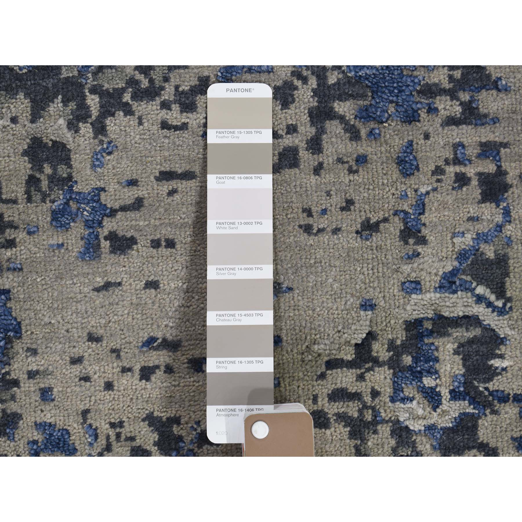 "8'2""x10'1"" Blue-Gray Heriz Design Wool and Silk Hand-Knotted Fine Oriental Rug"