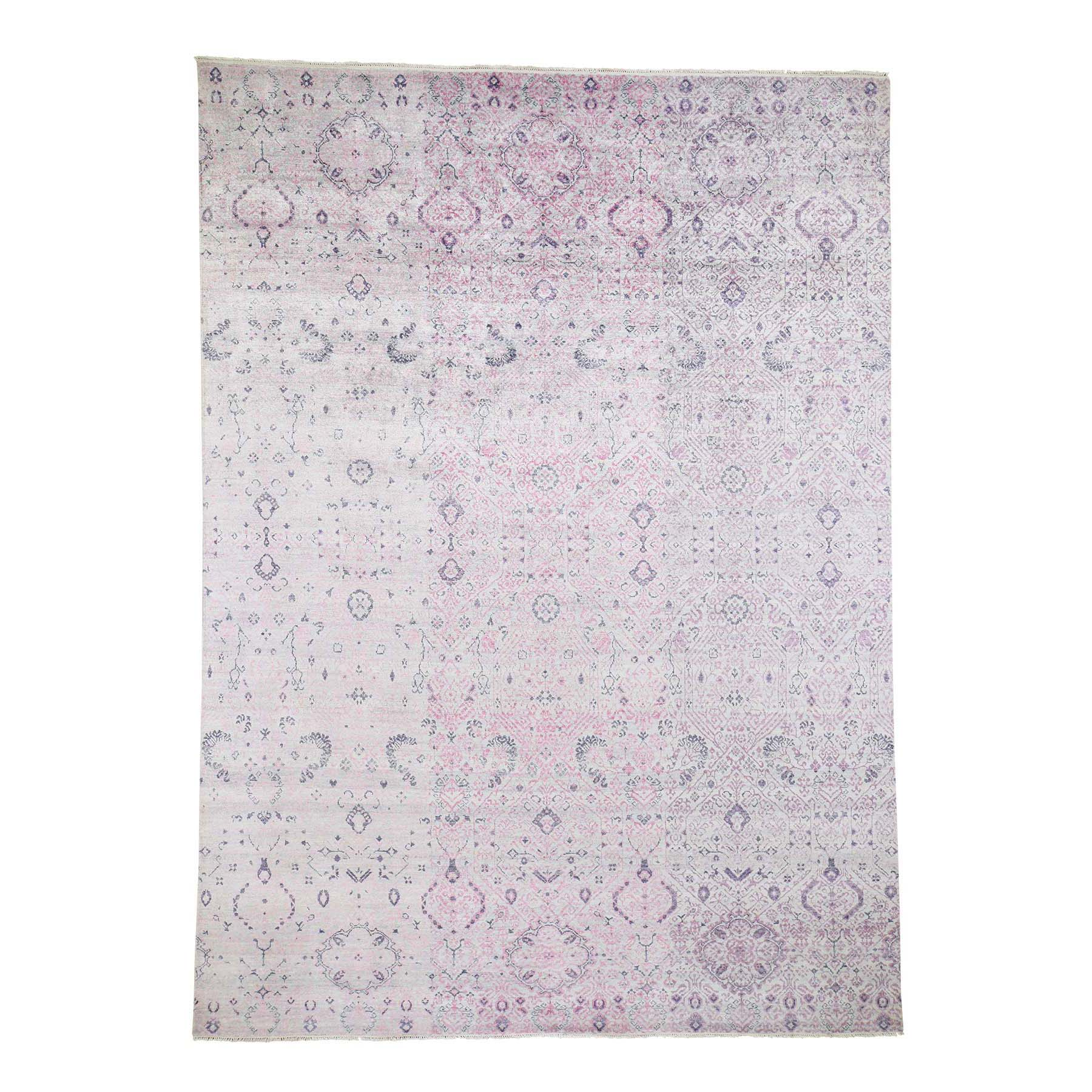 "8'6""X11'10"" Pink Tone On Tone Jewelry Design Wool And Silk Hand-Knotted Oriental Rug moad6ab7"