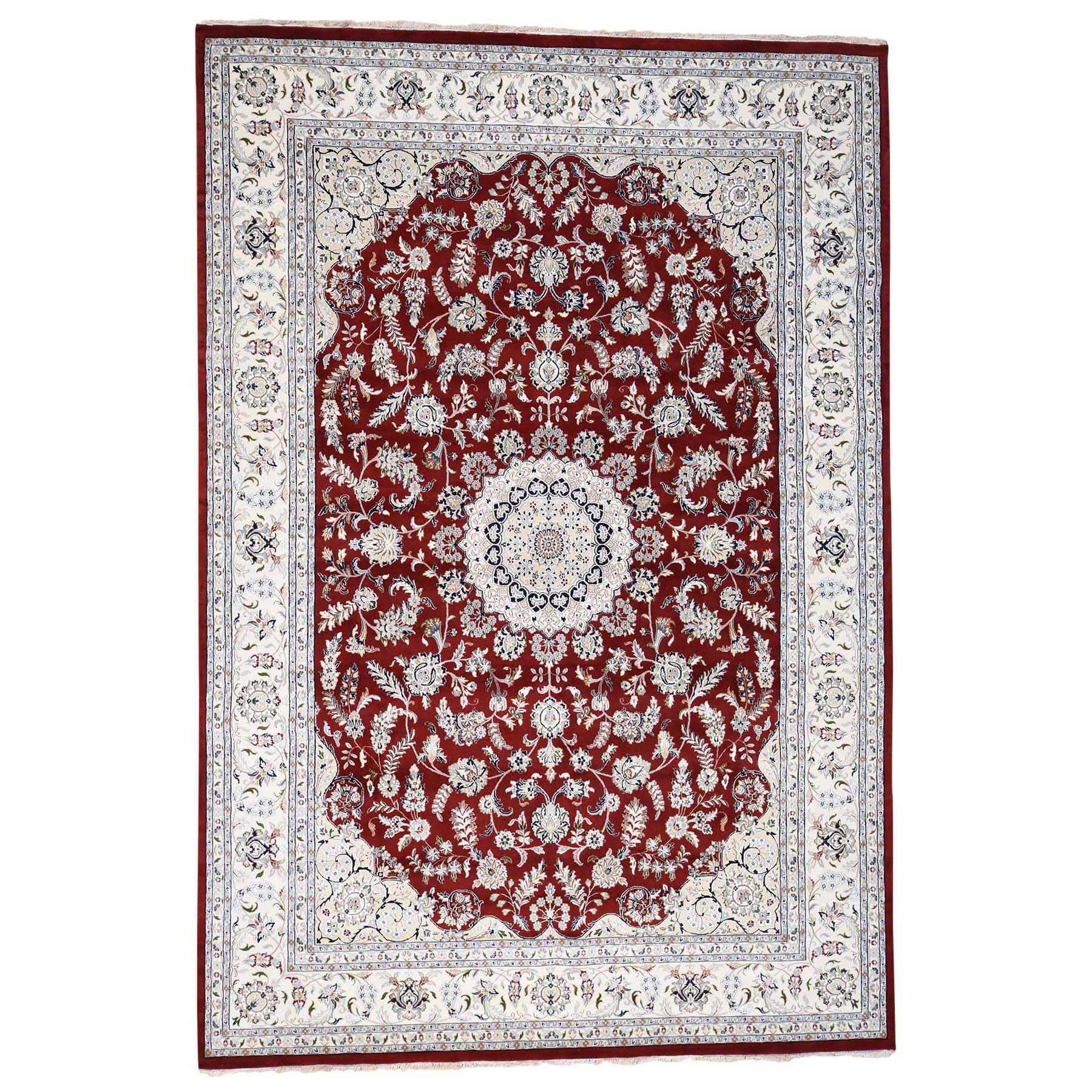 "9'9""X14' 250 Kpsi Red Wool And Silk Nain Hand Knotted Oriental Rug moad6aca"