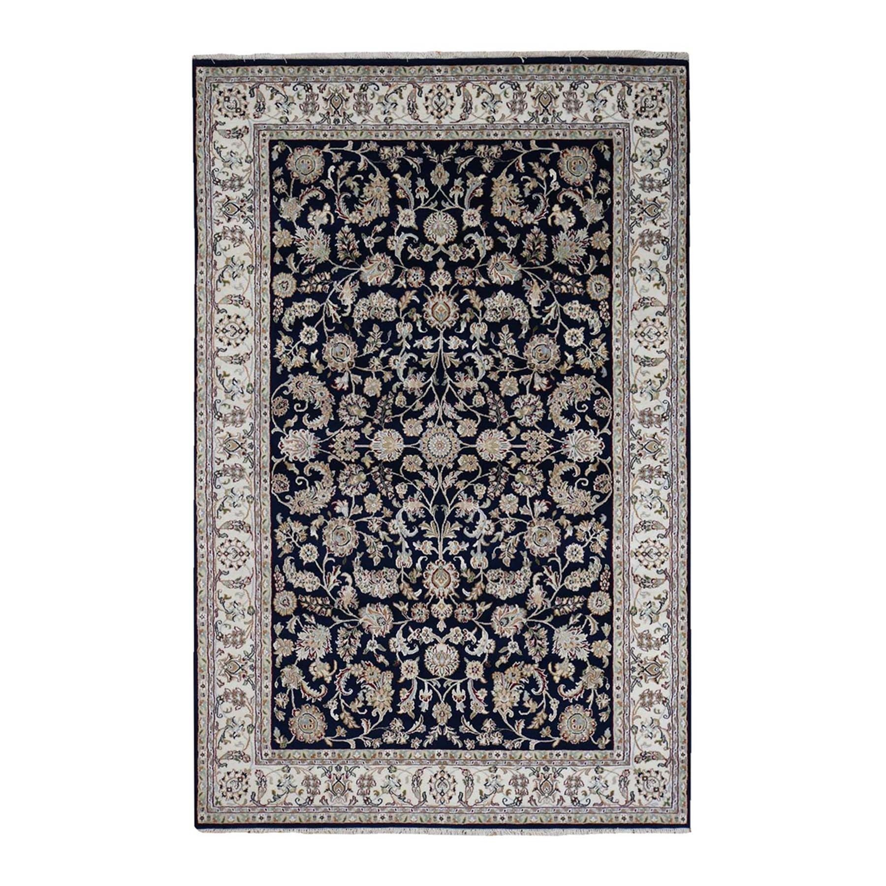 "6'1""x9' Wool and Silk 250 KPSI All Over Design Navy Blue Nain Hand-Knotted Oriental Rug"