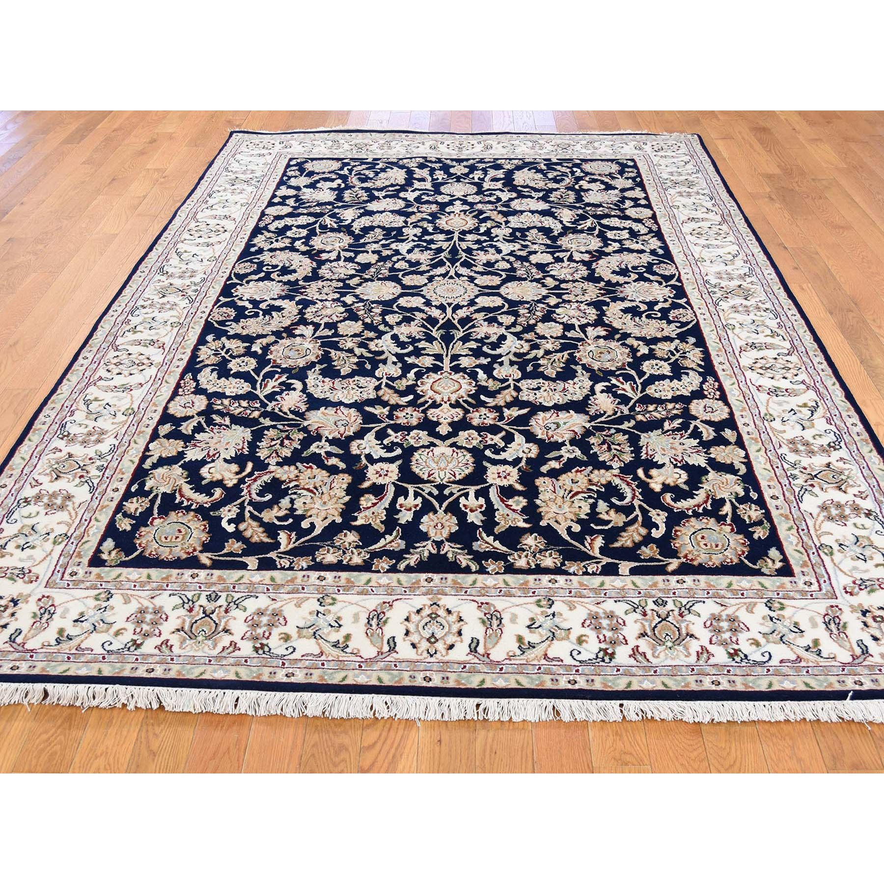 """6'1""""x9' Wool and Silk 250 KPSI All Over Design Navy Blue Nain Hand-Knotted Oriental Rug"""