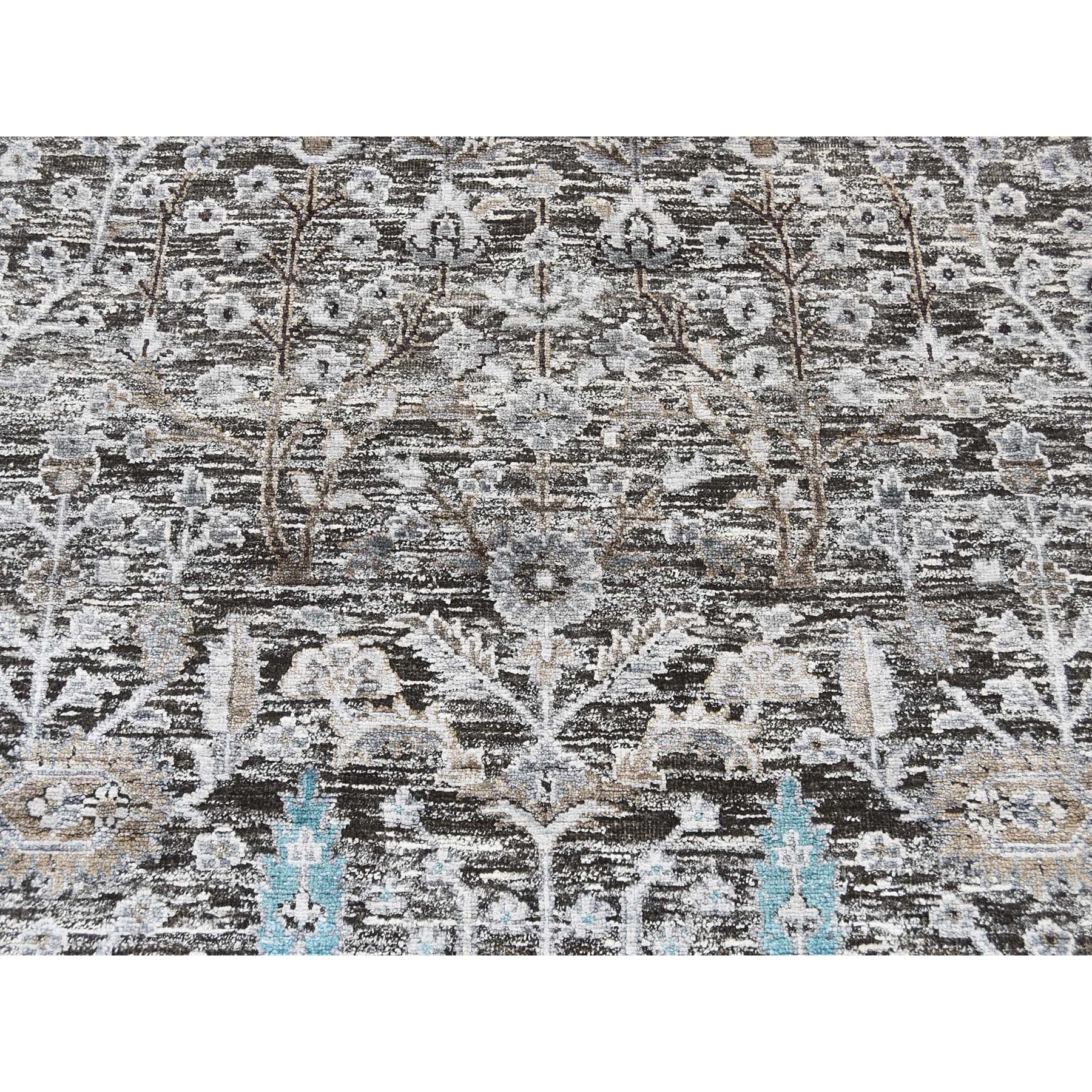 8-x10-3  Hand-Knotted Cypress Tree Design Silk with Textured Wool Oriental Rug