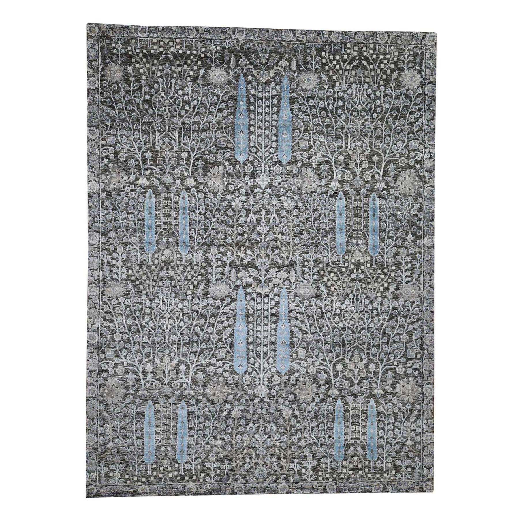 "9'X12'1"" Hand-Knotted Cypress Tree Design Silk With Oxidized Wool Oriental Rug moad6a68"