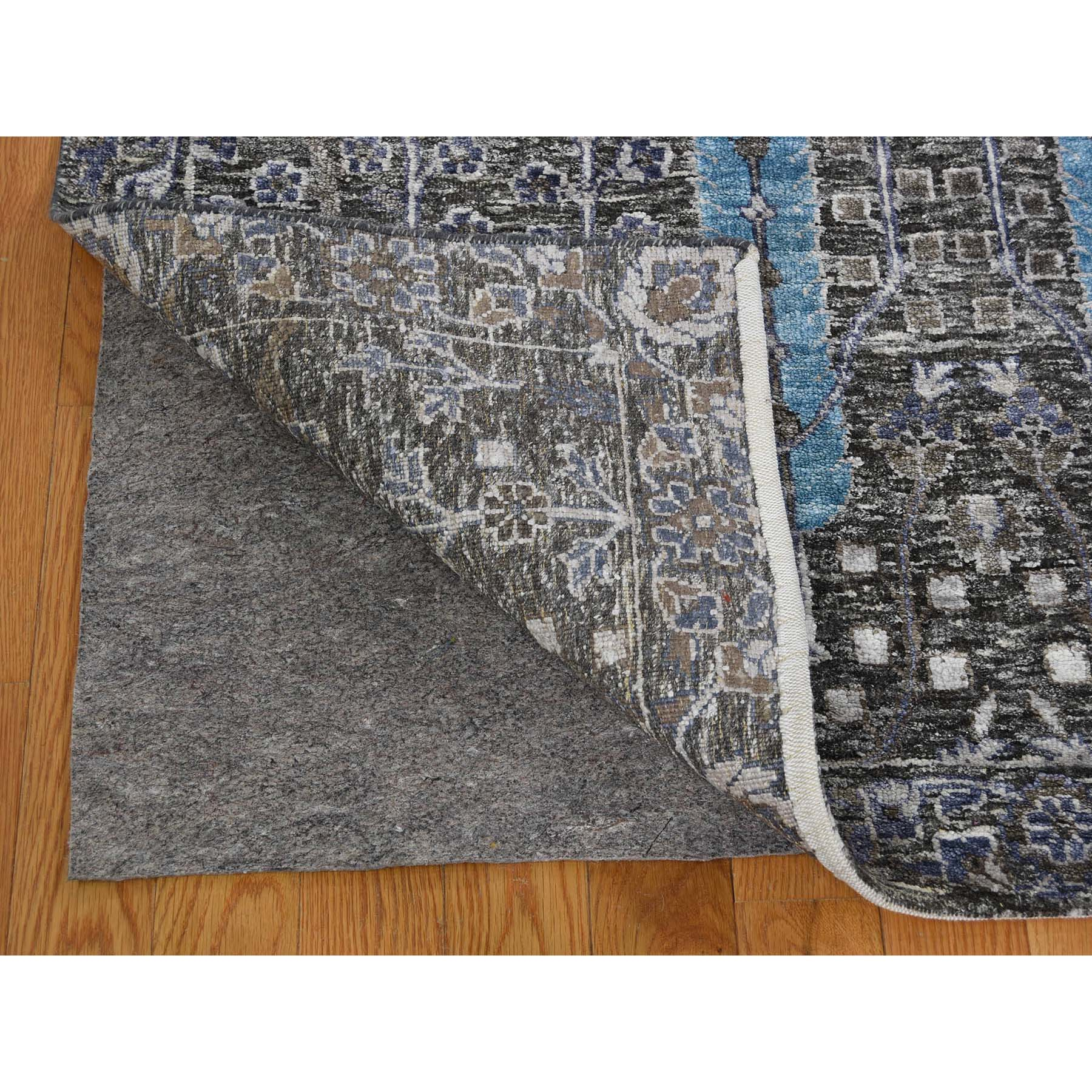 9-x12-1  Hand-Knotted Cypress Tree Design Silk with Textured Wool Oriental Rug