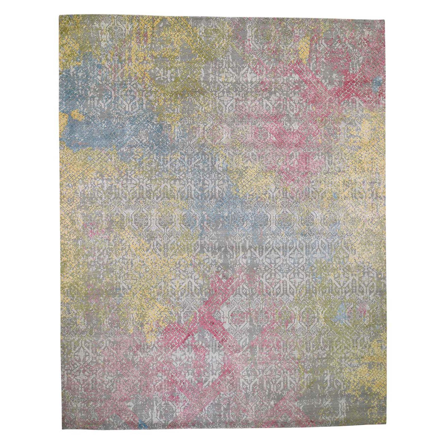 12'X15' Oversize Trellis In The Spring Pure Silk Hi-Low Pile Gray Hand-Knotted Oriental Rug moad6a8b
