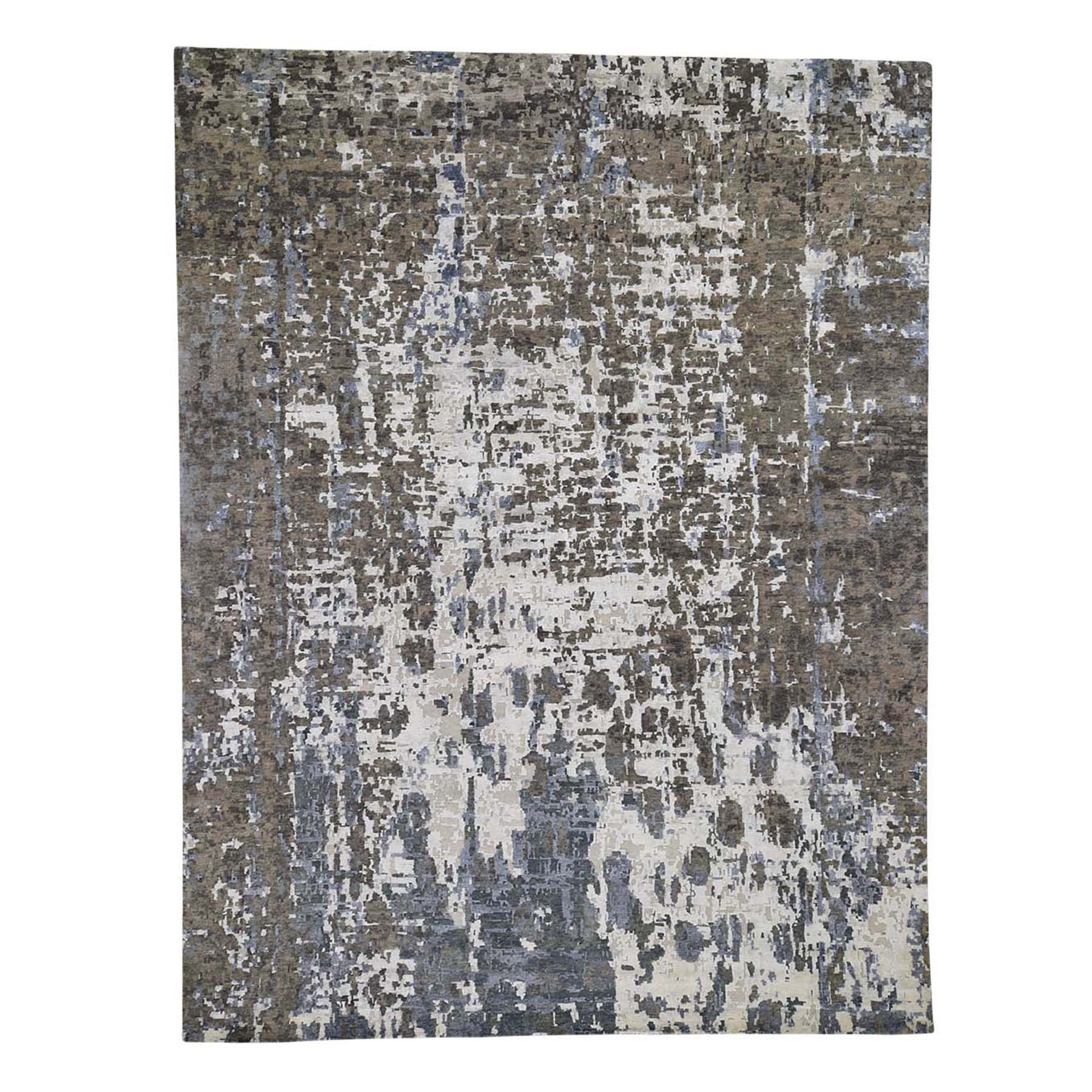 """9'x11'10"""" Hi-Low Pile Abstract Design Wool And Silk Hand-Knotted Oriental Rug"""