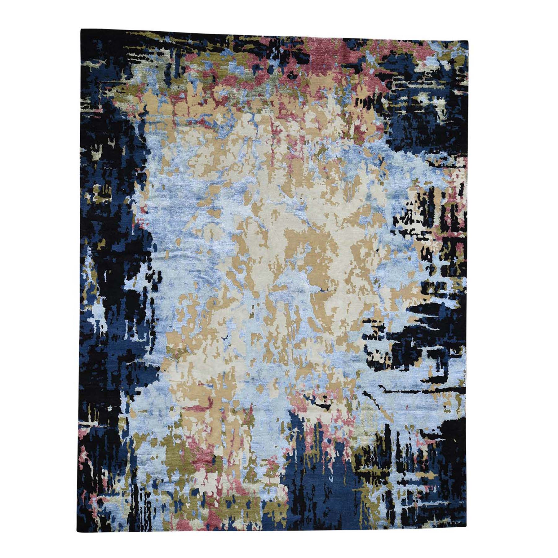 """10'1""""x13' Hi-Low Pile Abstract Design Wool And Silk Hand-Knotted Oriental Rug"""