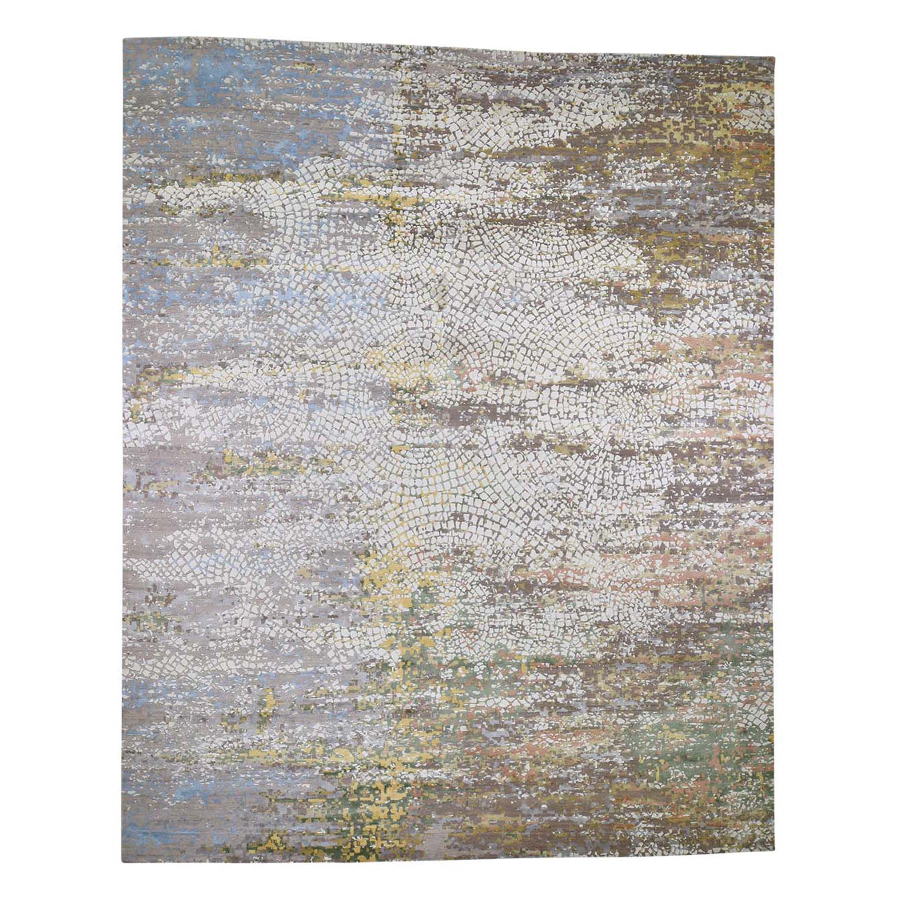 12'X15' Oversize Colorful Wool And Pure Silk Roman Mosaic Design Hand-Knotted Oriental Rug moad6a88