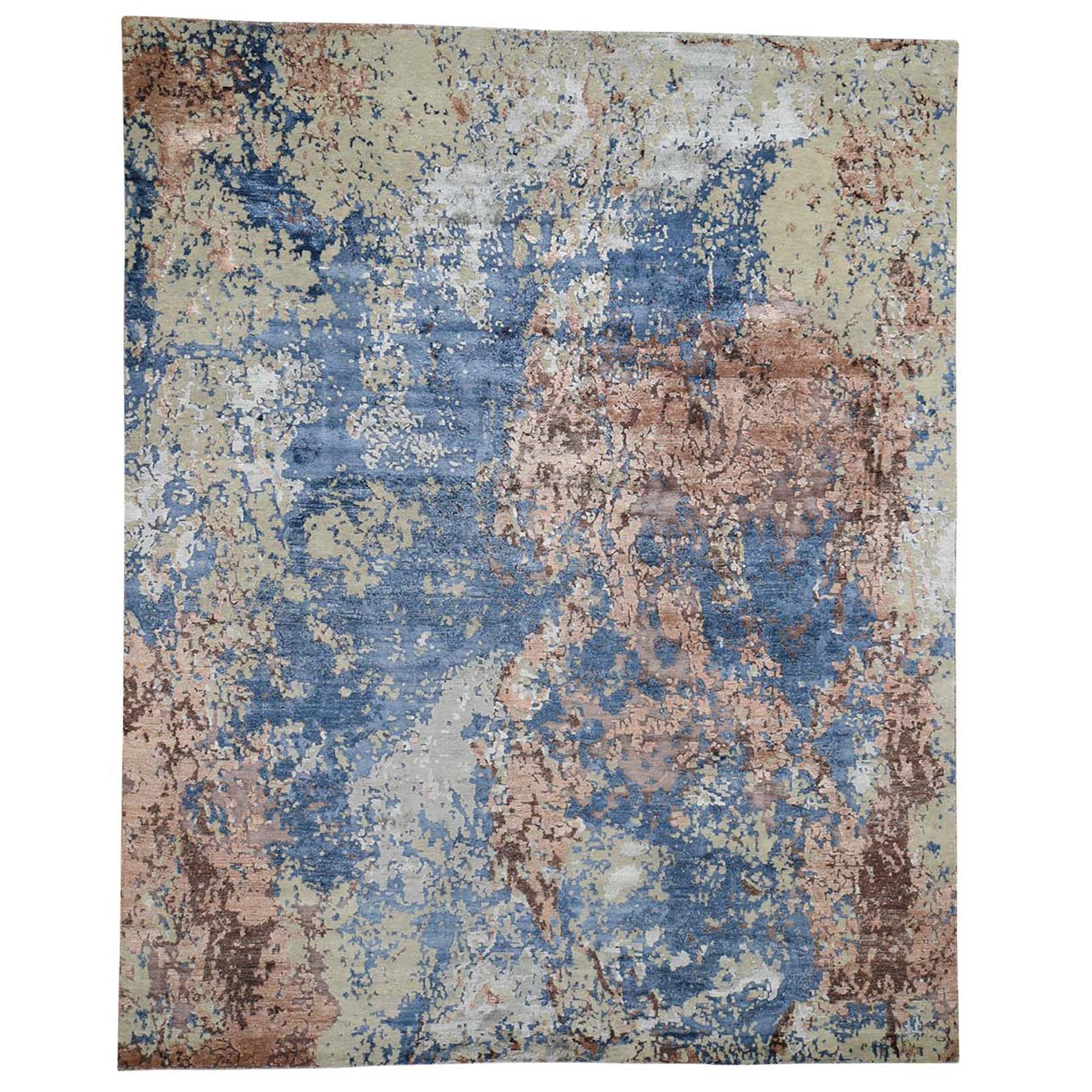 """8'x9'10"""" Hand-Knotted Abstract Design Wool And Silk Hi And Low Pile Oriental Rug"""