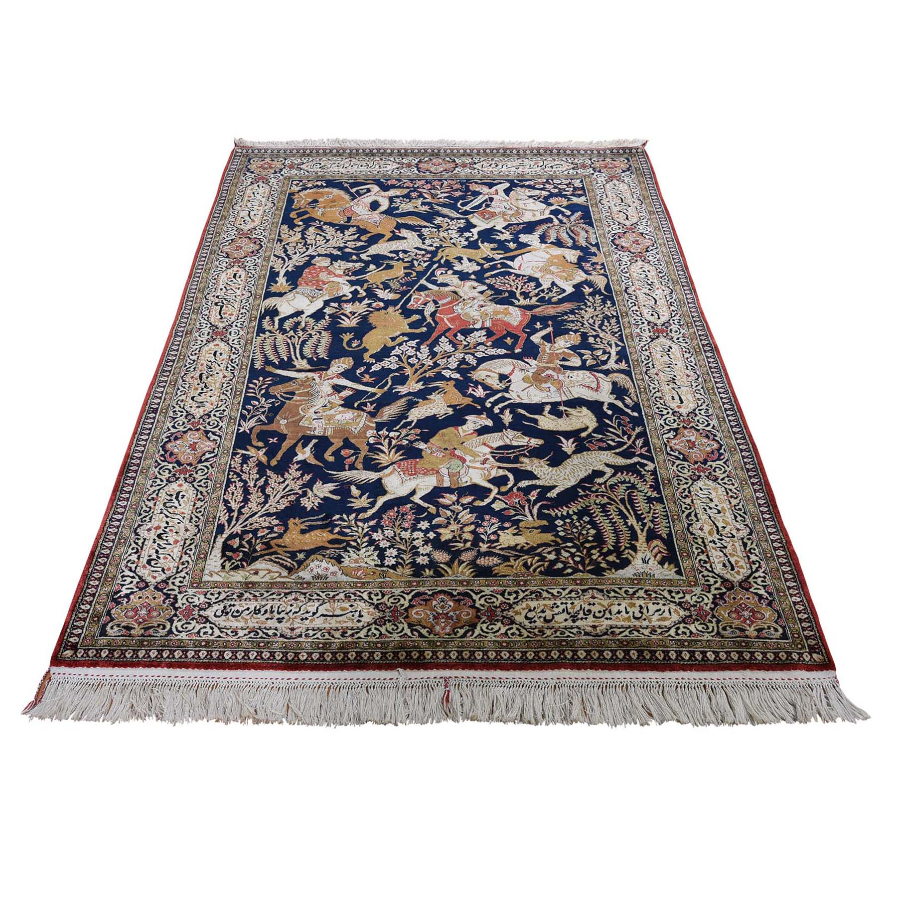 """4'4""""x6'8"""" Navy Blue Vintage Persian Silk Qum Hunting Design With Poetry Hand-Knotted Oriental Rug"""